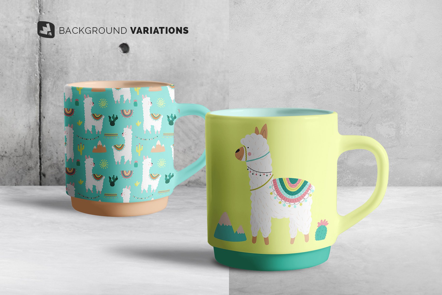 background options of the porcelain coffee cups set mockup
