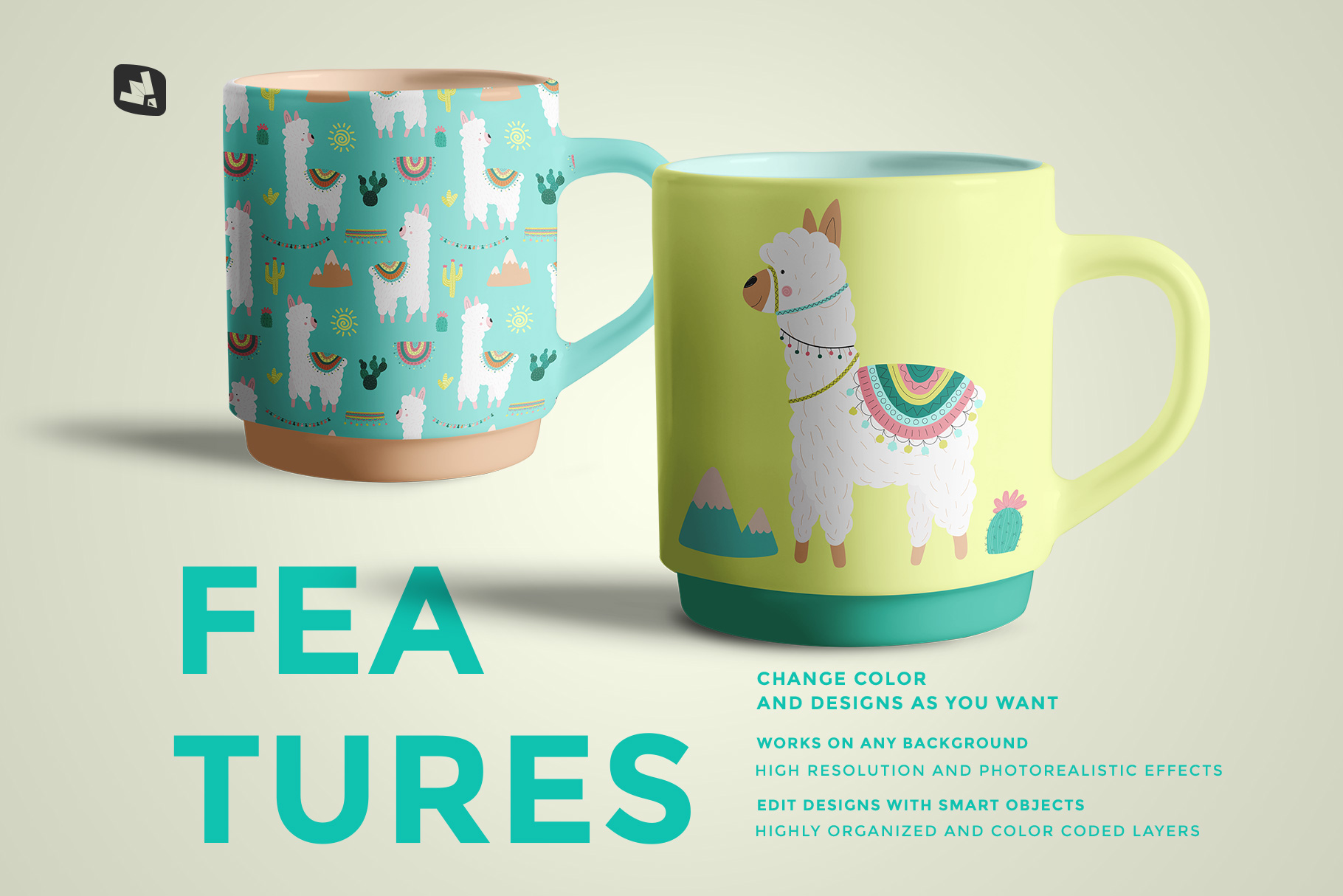 features of the porcelain coffee cups set mockup