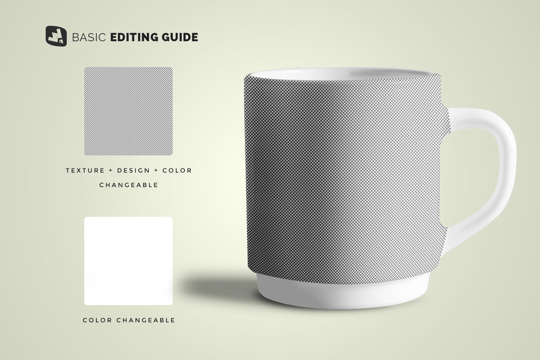 editability of the porcelain coffee cups set mockup