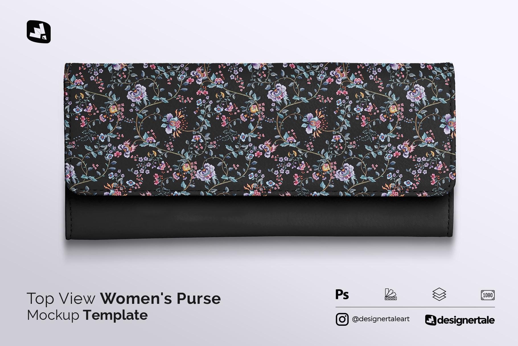 top view women's purse mockup