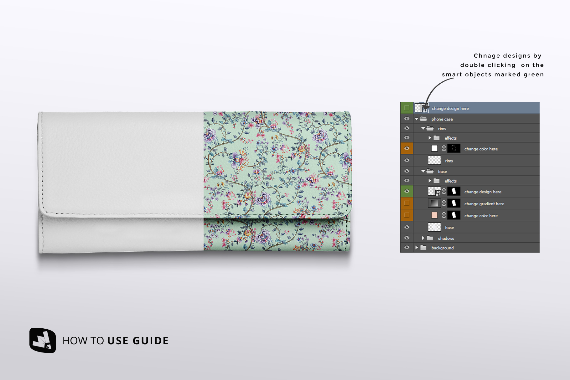 how to change design of the top view women's purse mockup