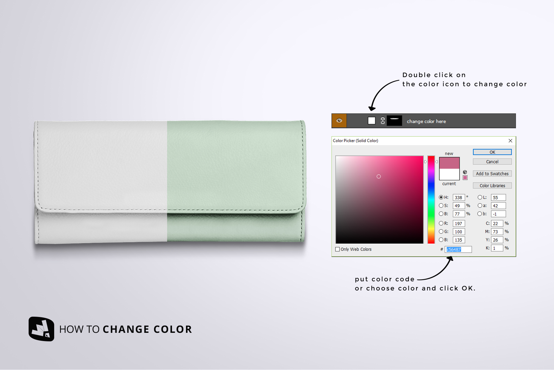 how to change color of the top view women's purse mockup