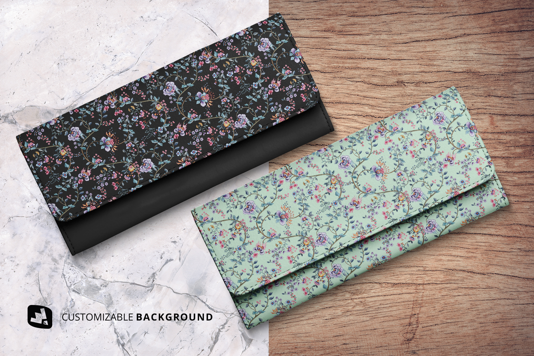 background options of the top view women's purse mockup
