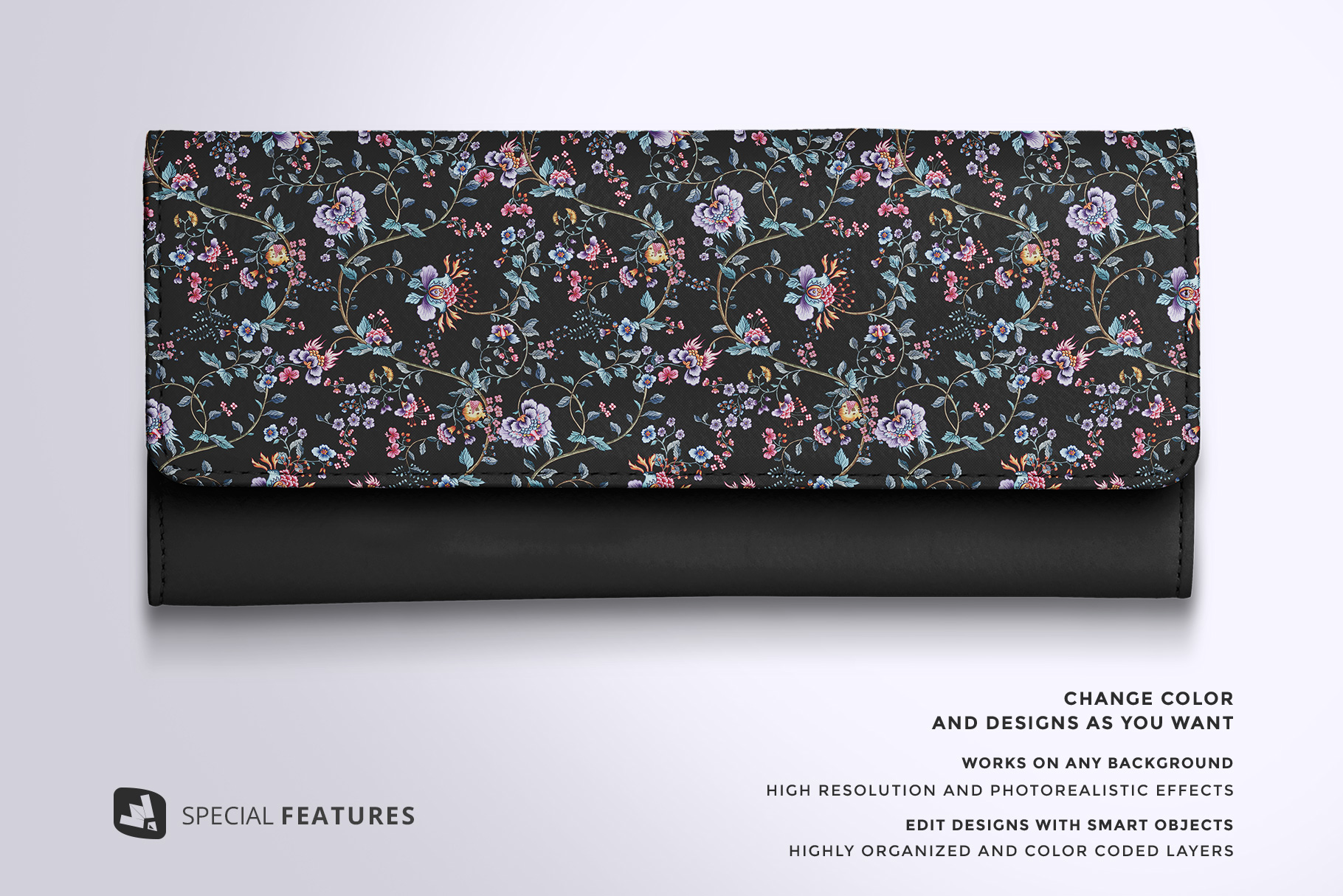 special features of the top view women's purse mockup