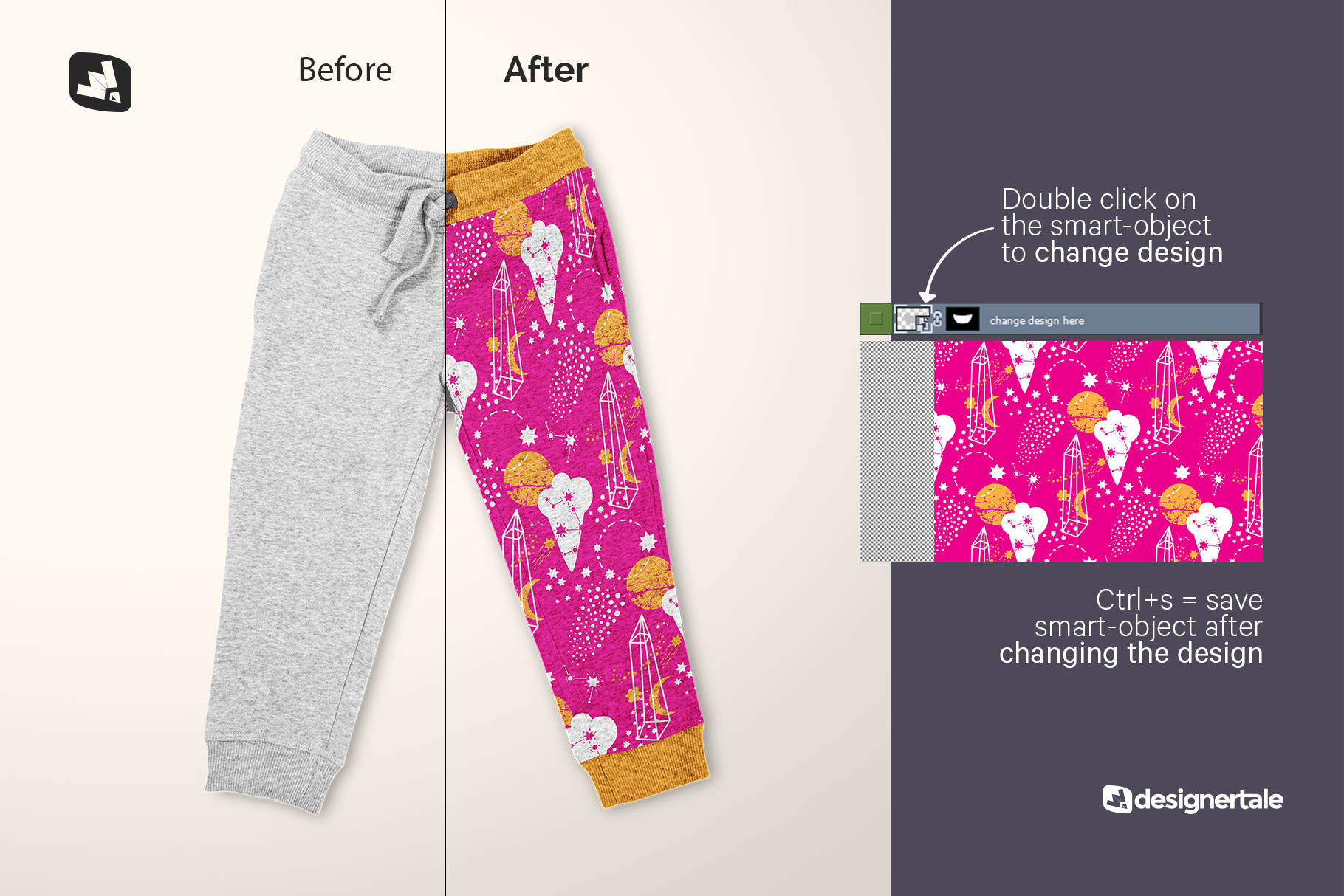 how to change design of the top view infant track pants mockup