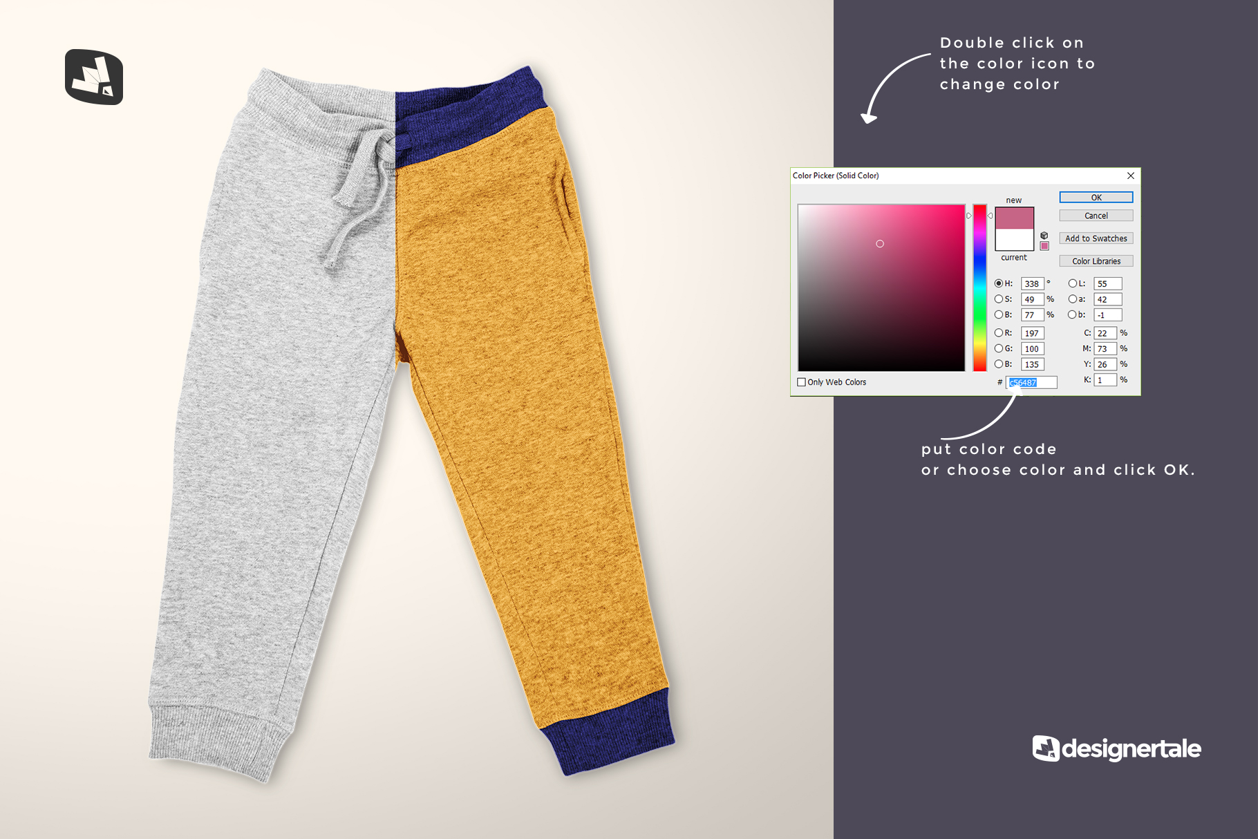how to change color of the top view infant track pants mockup