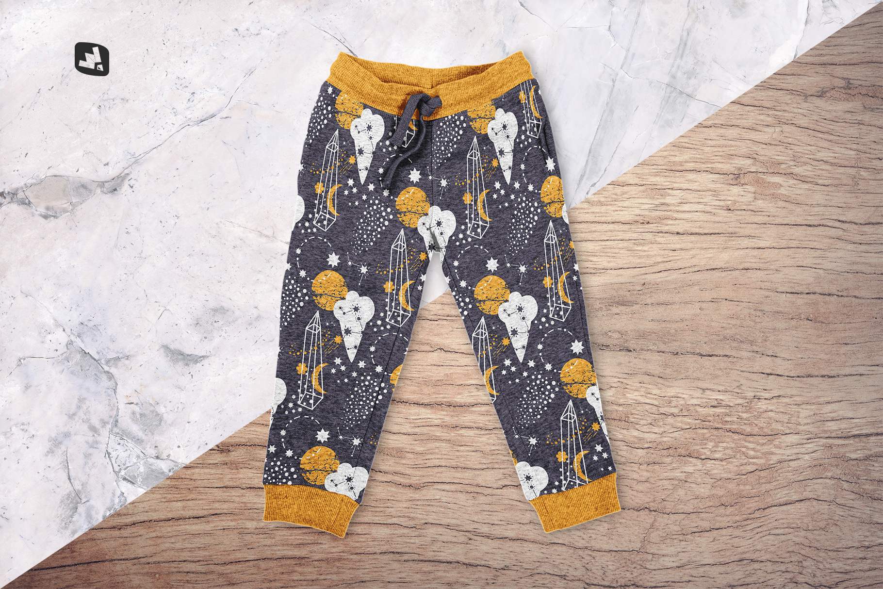 background options of the top view infant track pants mockup