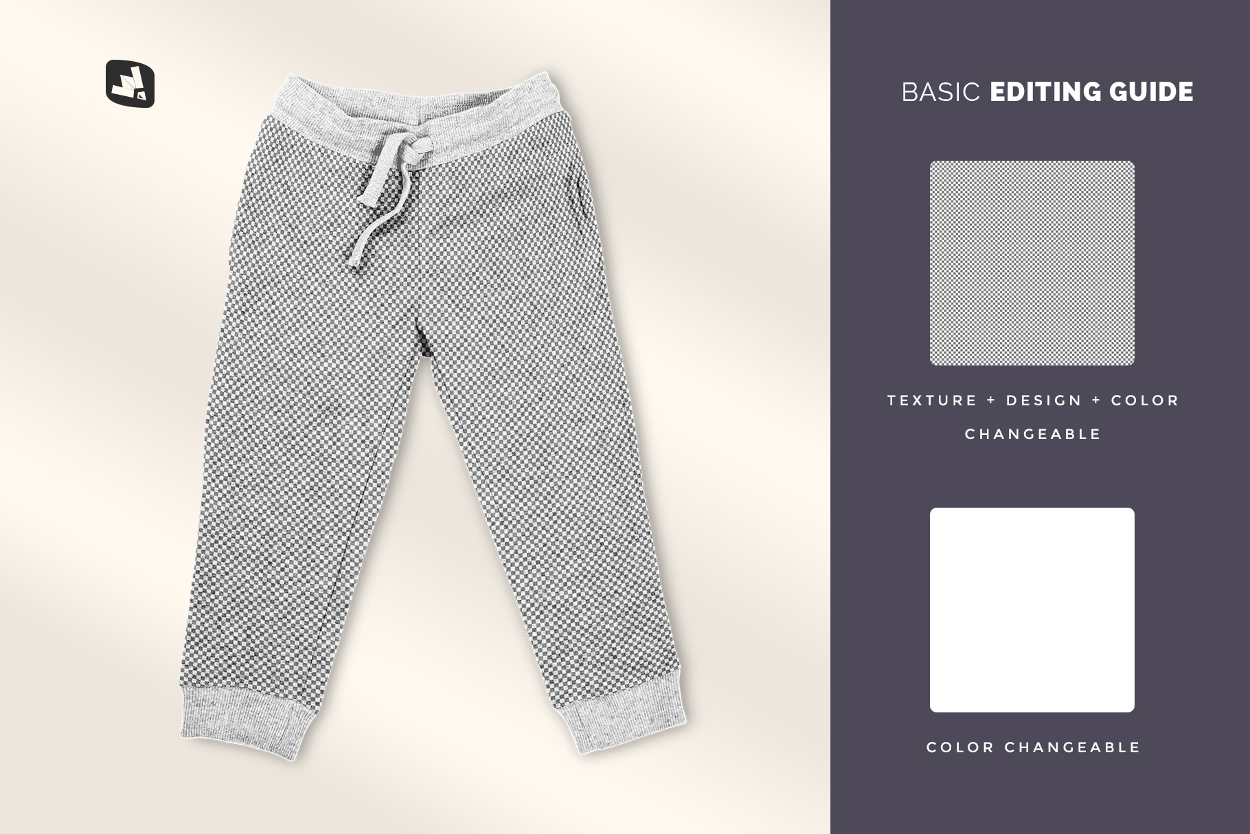 editability of the top view infant track pants mockup