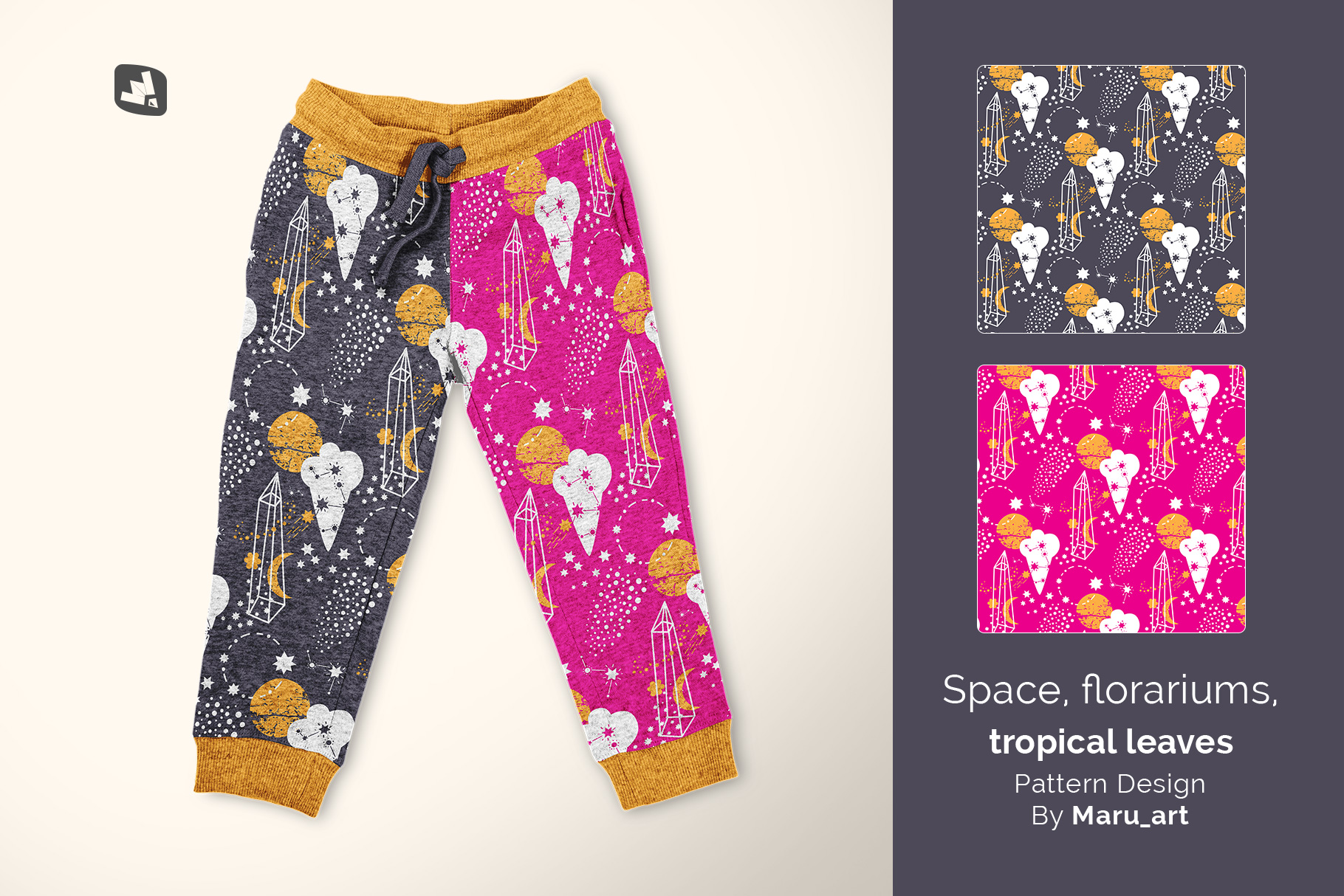 designer's credit of the top view infant track pants mockup