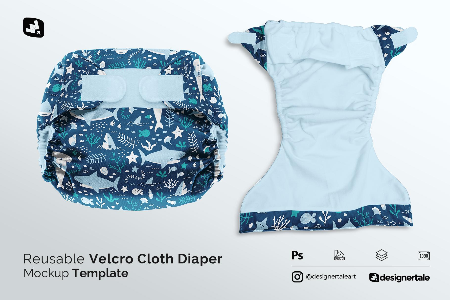reusable velcro cloth diaper mockup