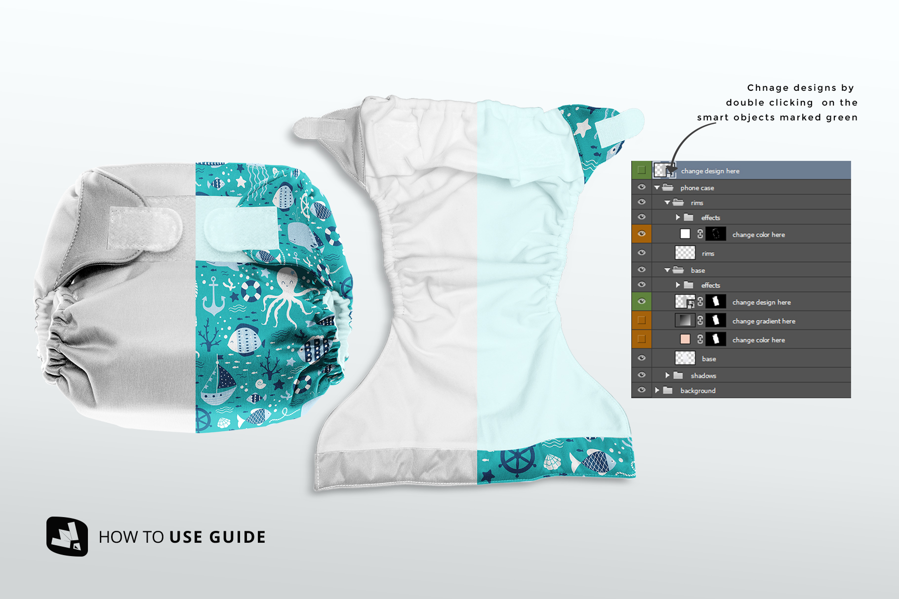 how to change design of the reusable velcro cloth diaper mockup