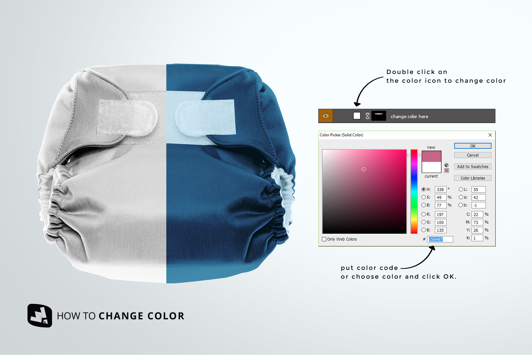 how to change color of the reusable velcro cloth diaper mockup