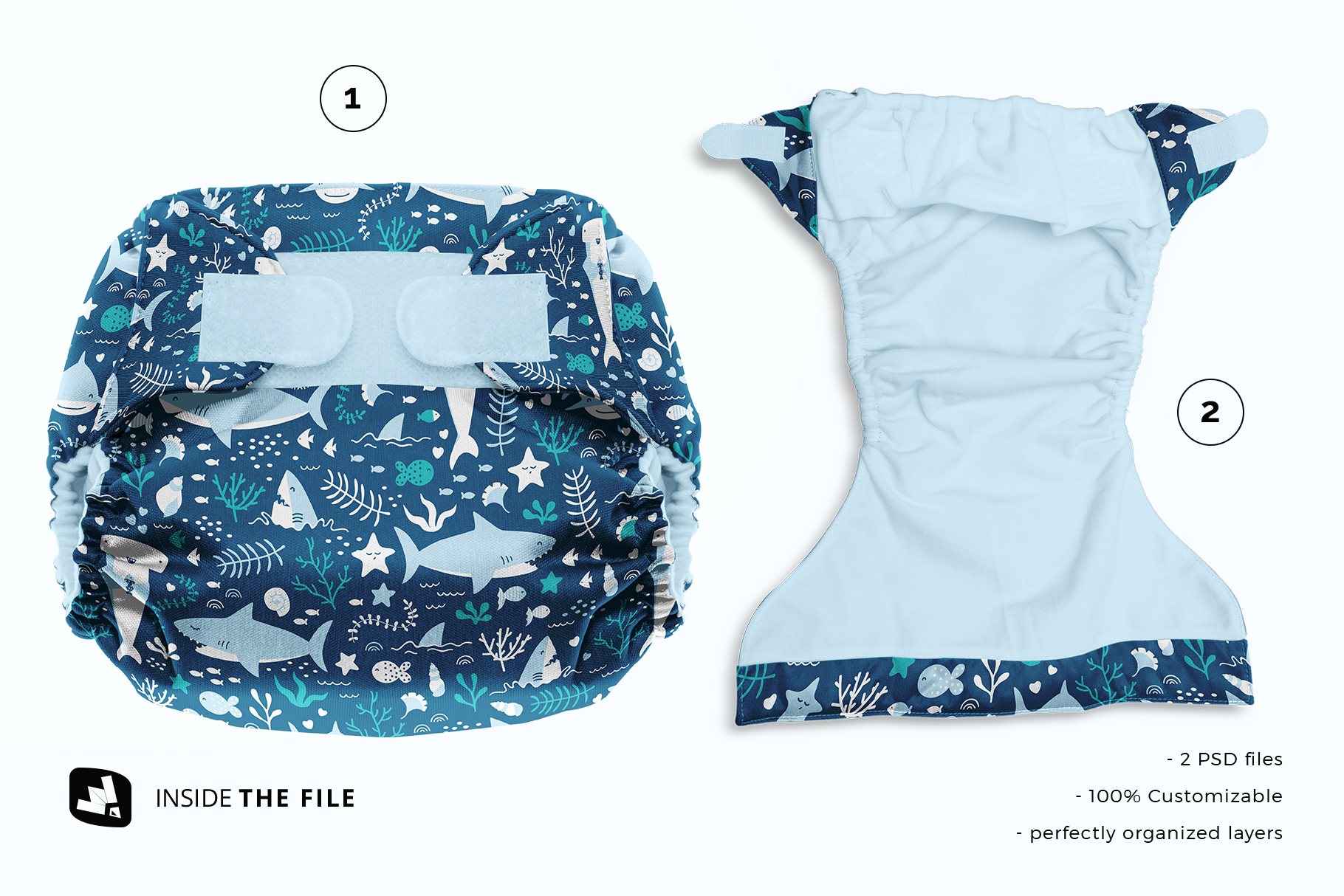 files included in the reusable velcro cloth diaper mockup