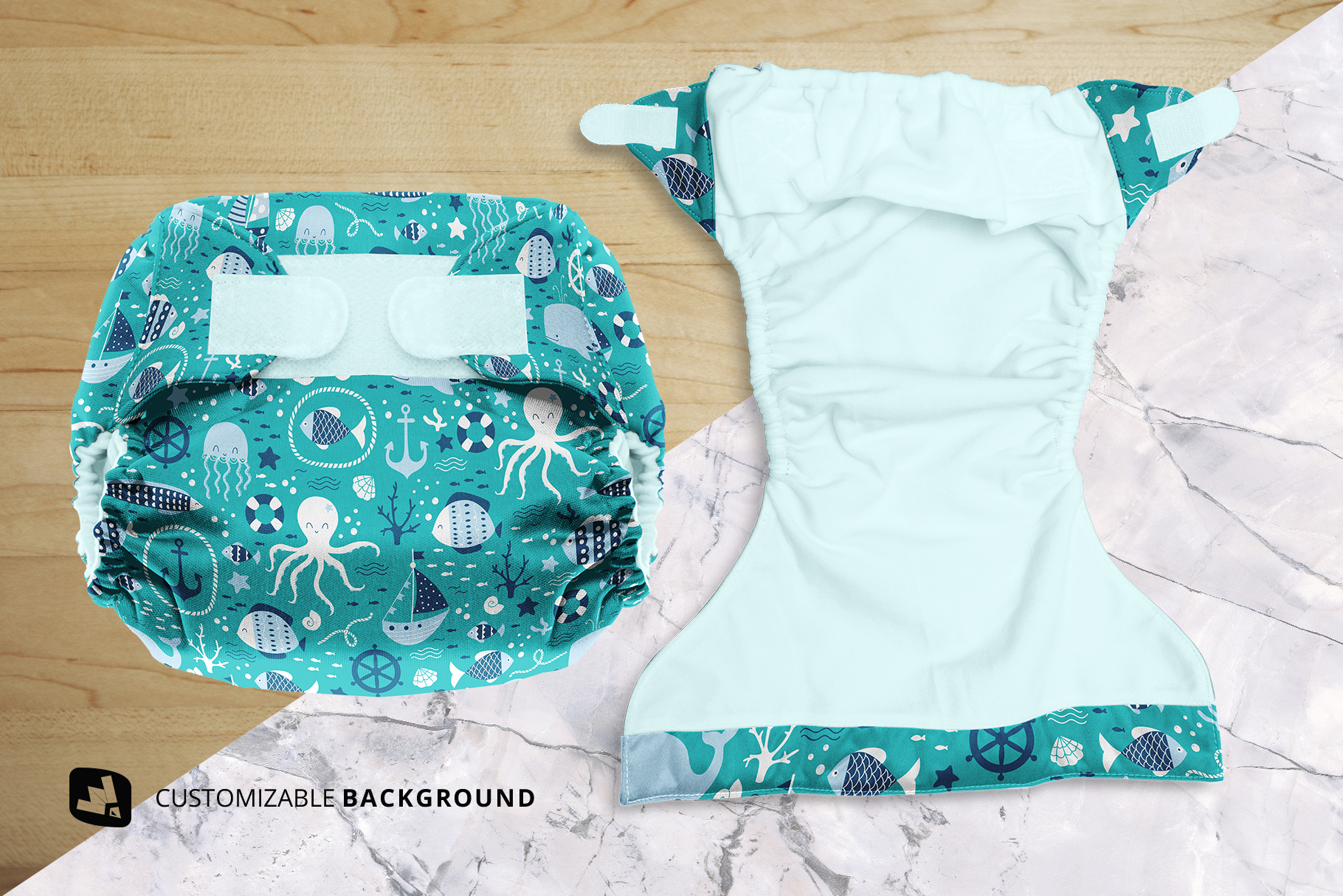 background options of the reusable velcro cloth diaper mockup