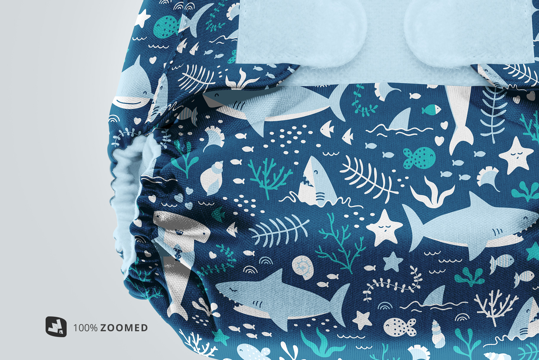 zoomed in image of the reusable velcro cloth diaper mockup