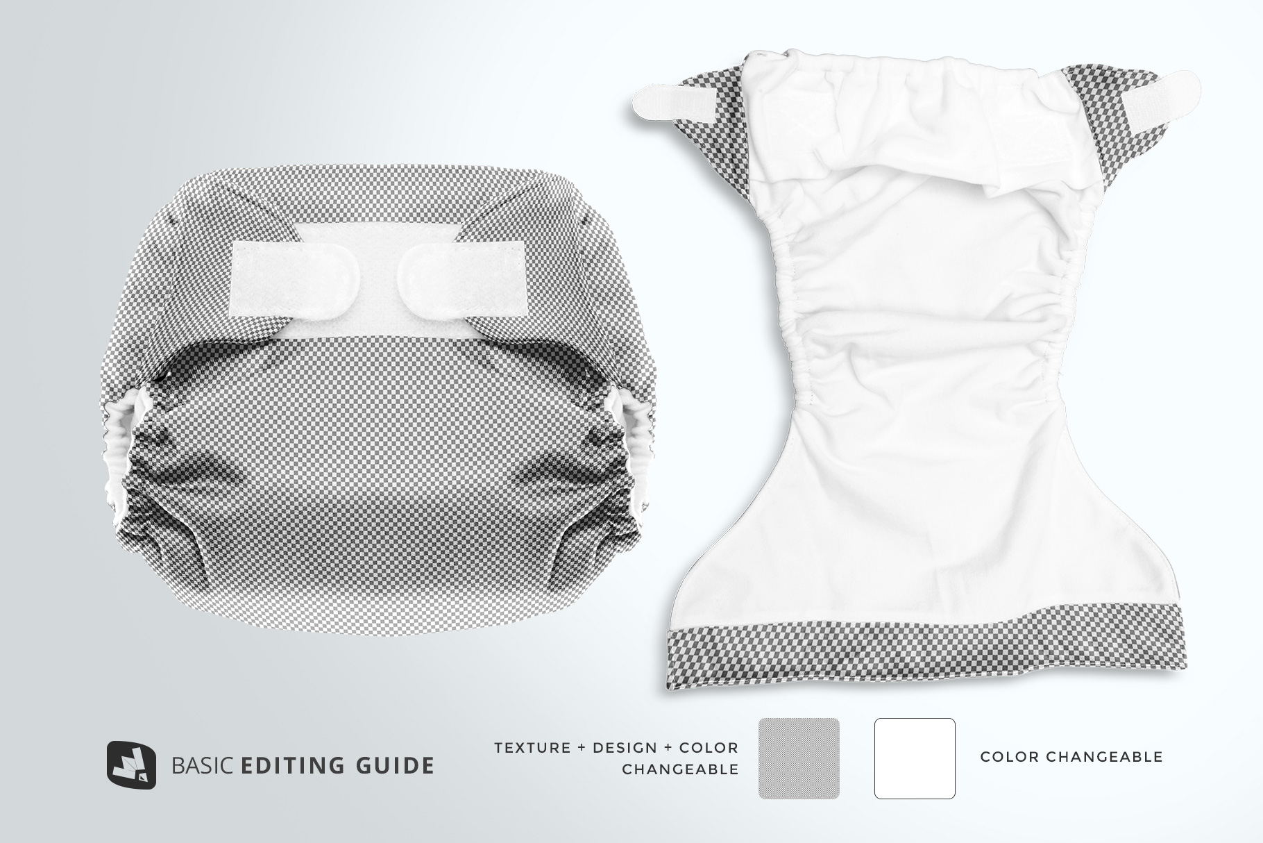 editability of the reusable velcro cloth diaper mockup