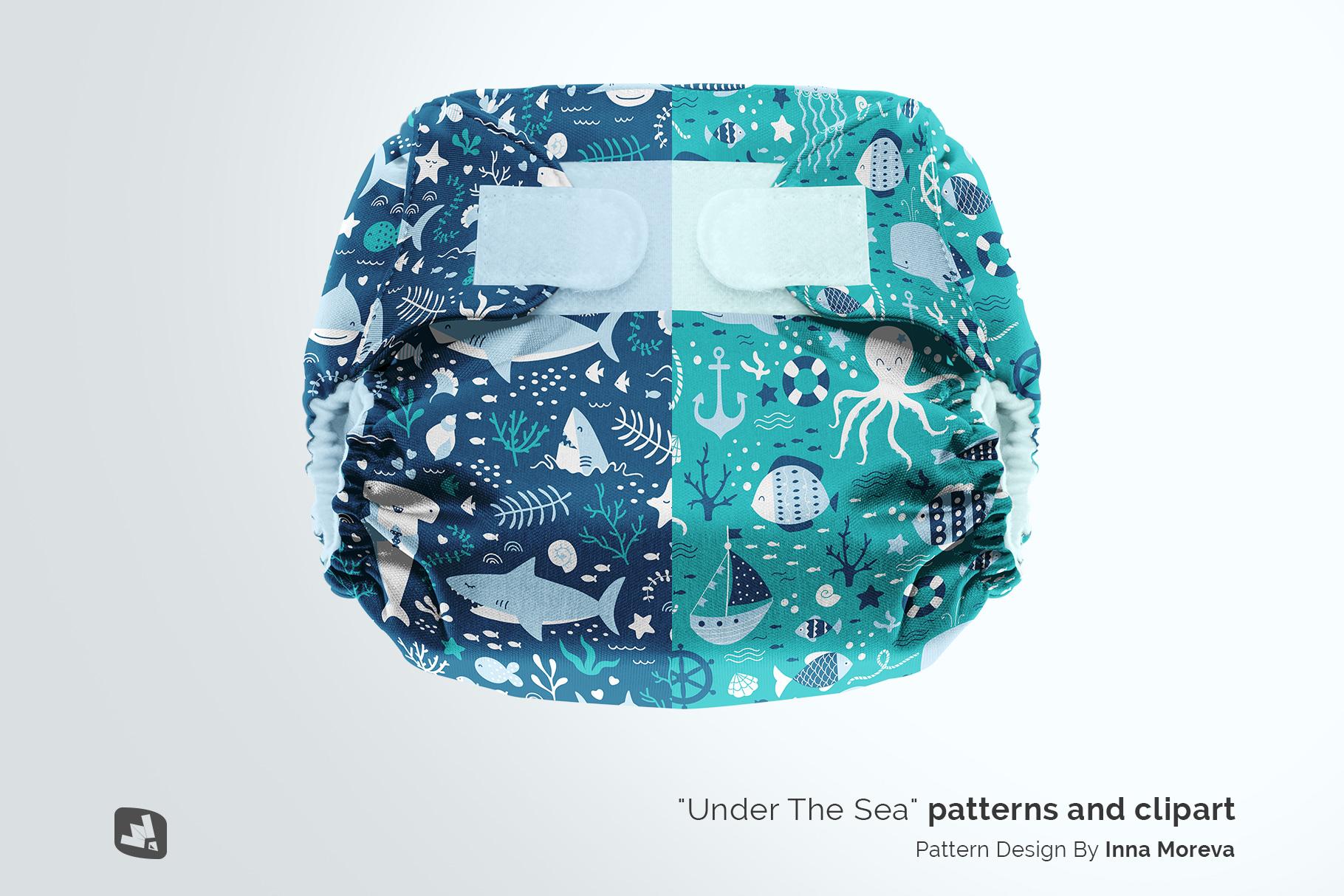 designer's credit of the reusable velcro cloth diaper mockup
