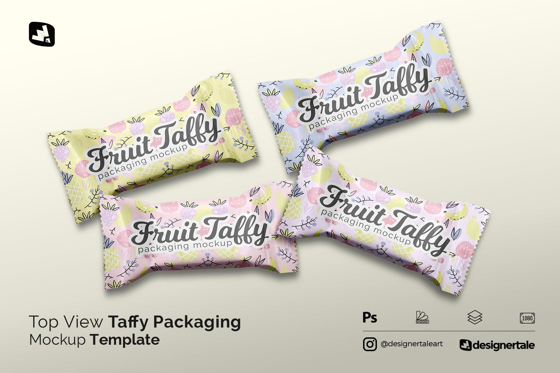 top view taffy packaging mockup