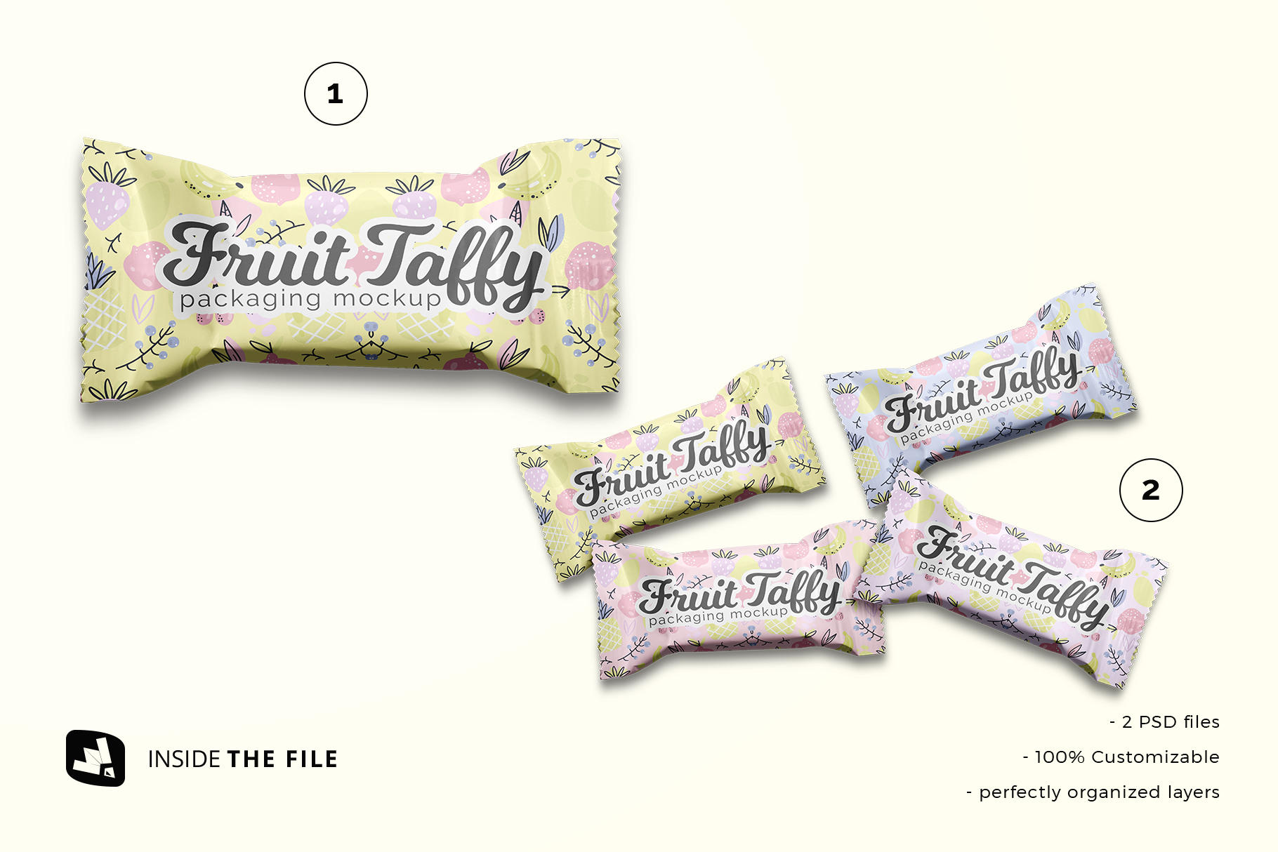 files included in the top view taffy packaging mockup