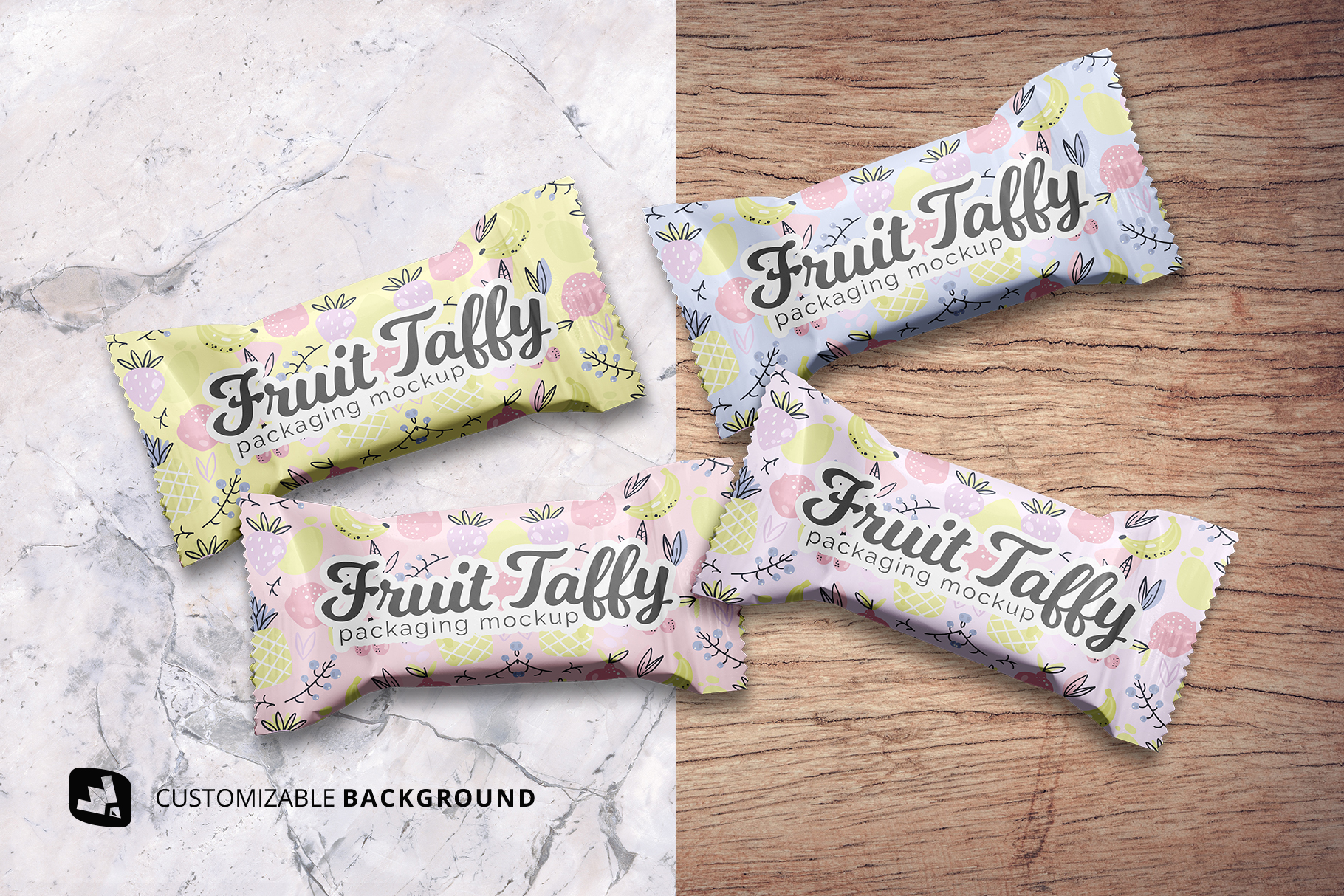 background options of the top view taffy packaging mockup