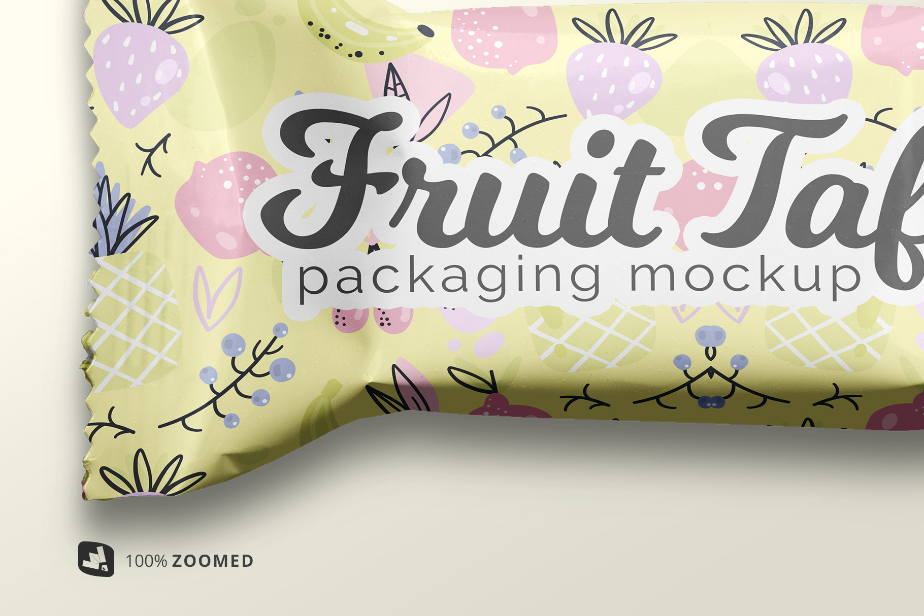 zoomed in the top view taffy packaging mockup