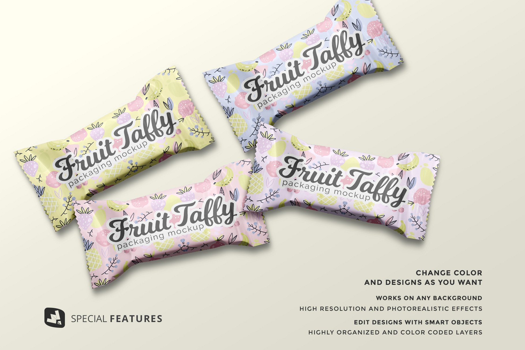 special features of the top view taffy packaging mockup