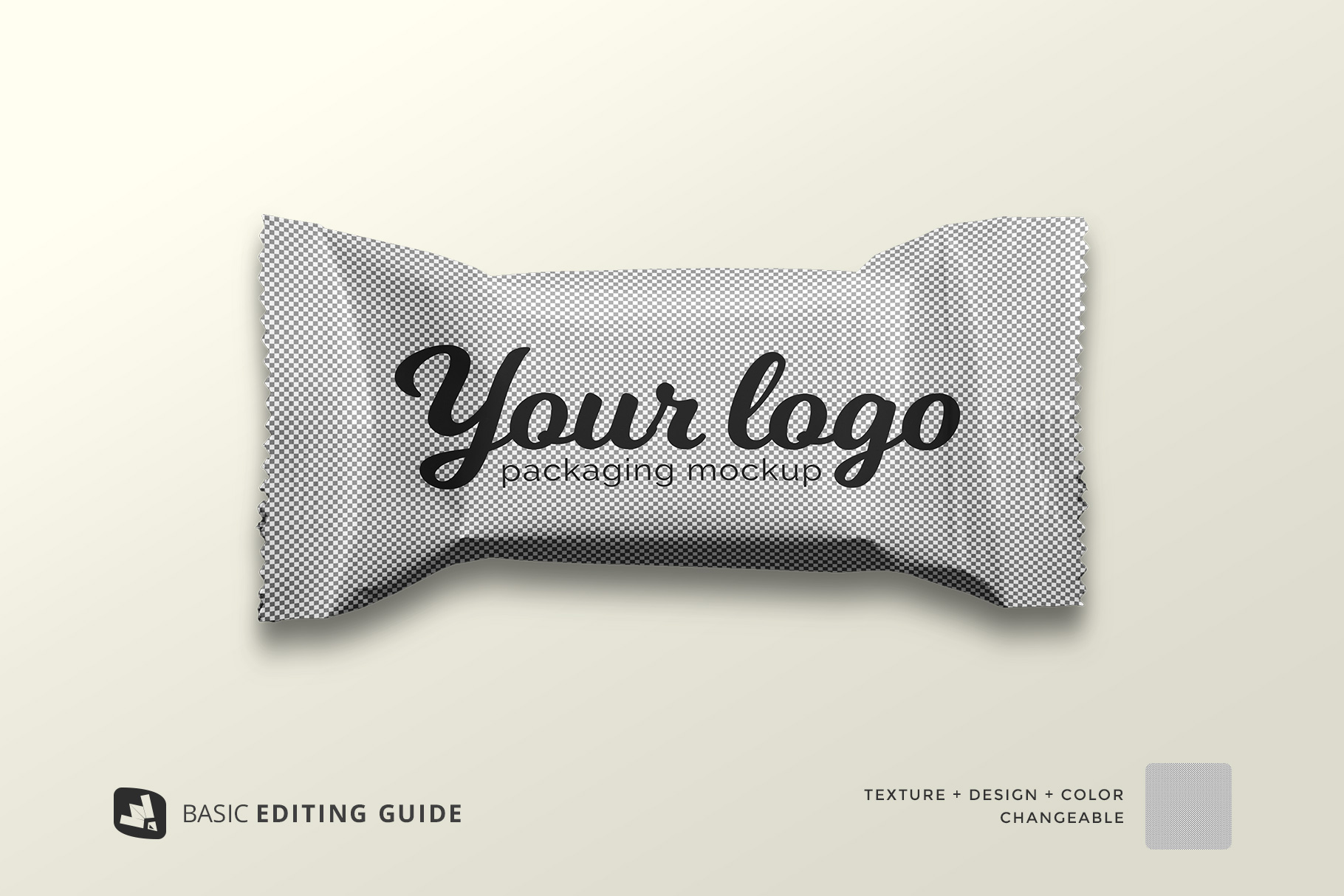 editability of the top view taffy packaging mockup