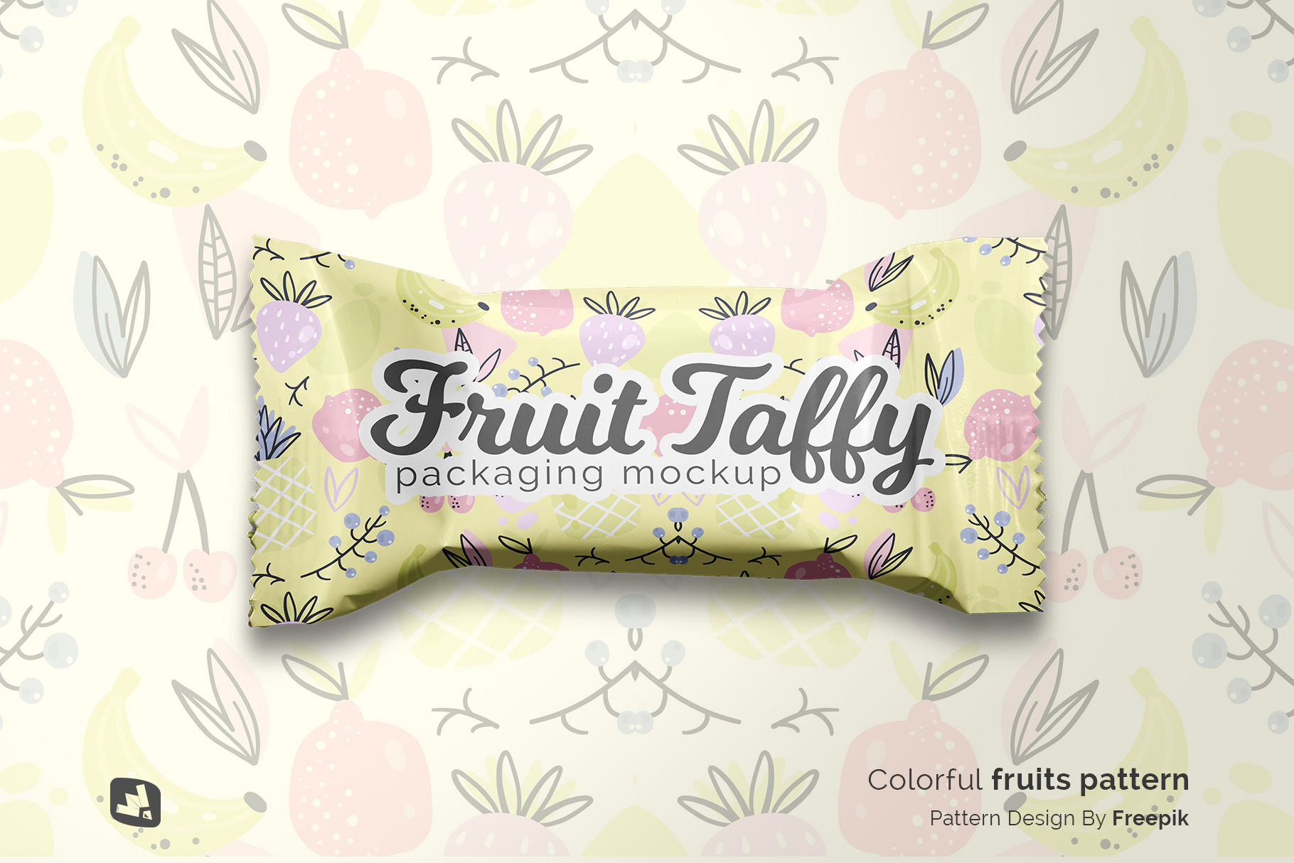 designer's credit of the top view taffy packaging mockup