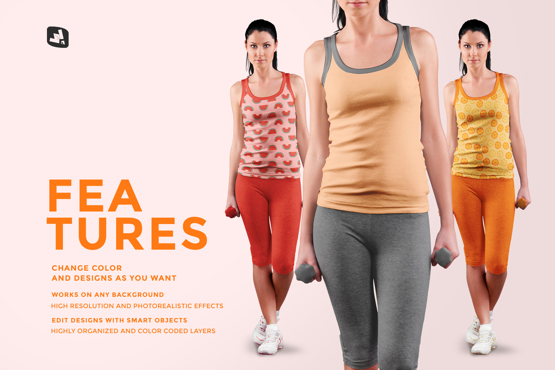 features of the female sleeveless gym outfit mockup