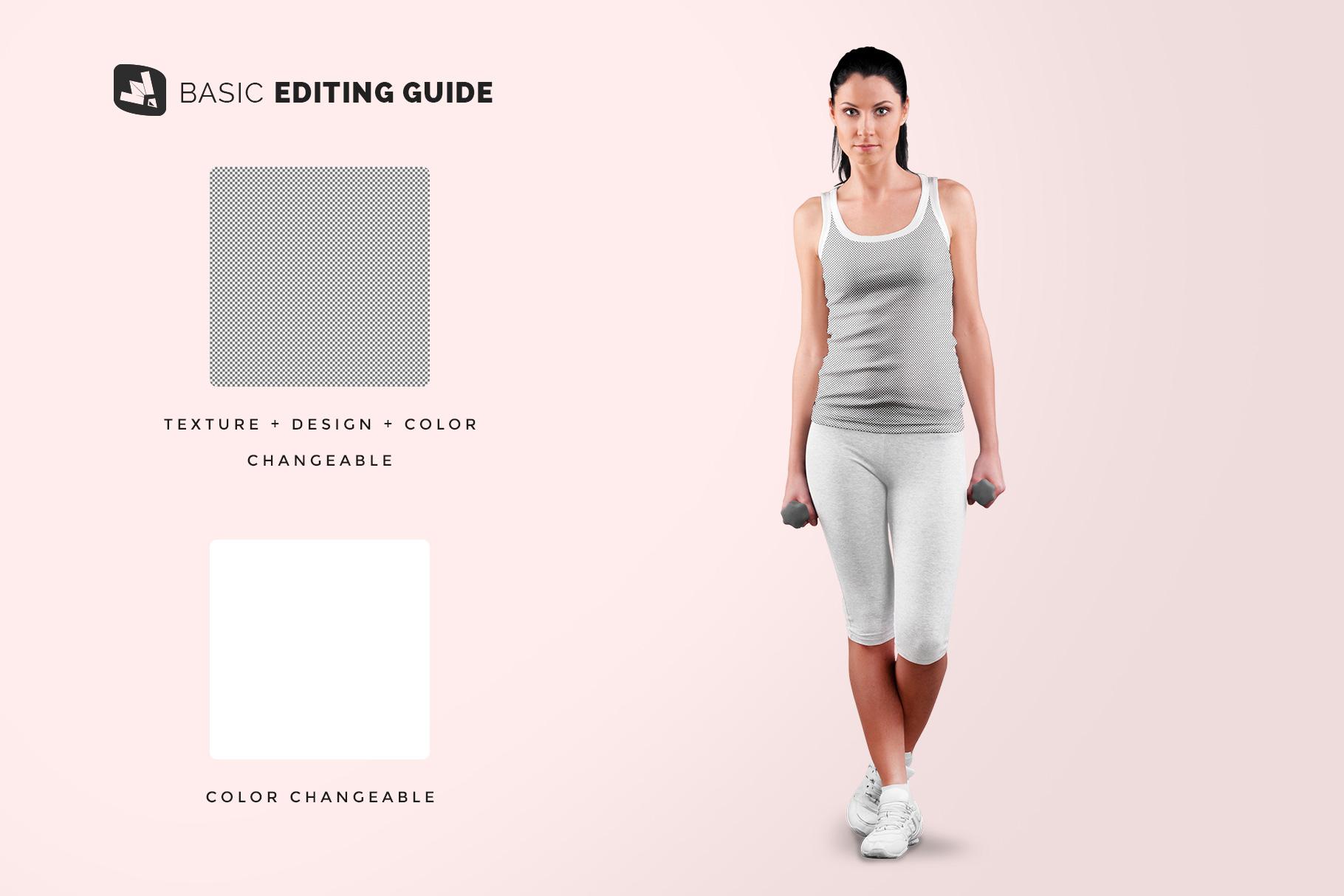 editability of the female sleeveless gym outfit mockup