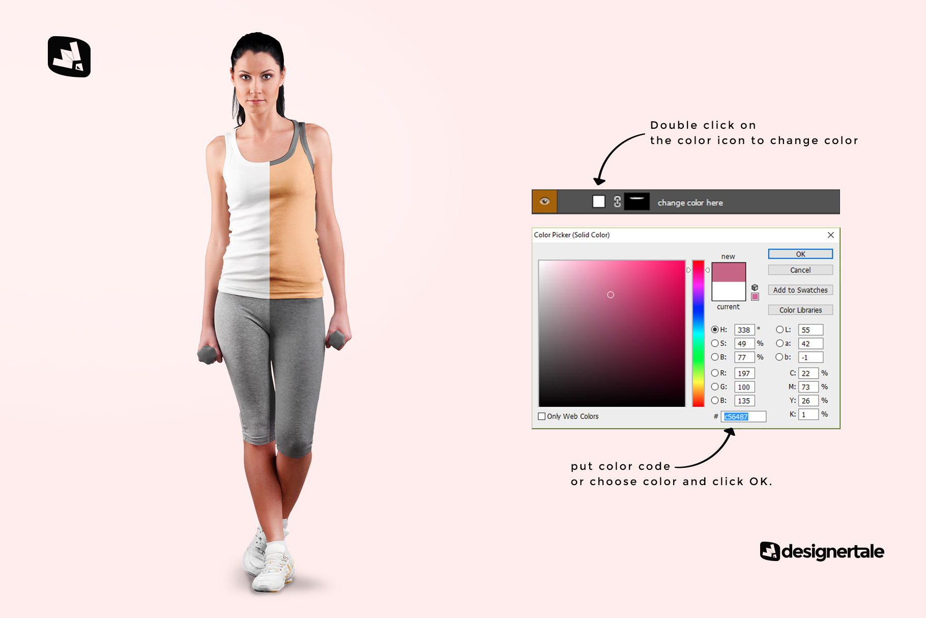 how to change color of the female sleeveless gym outfit mockup