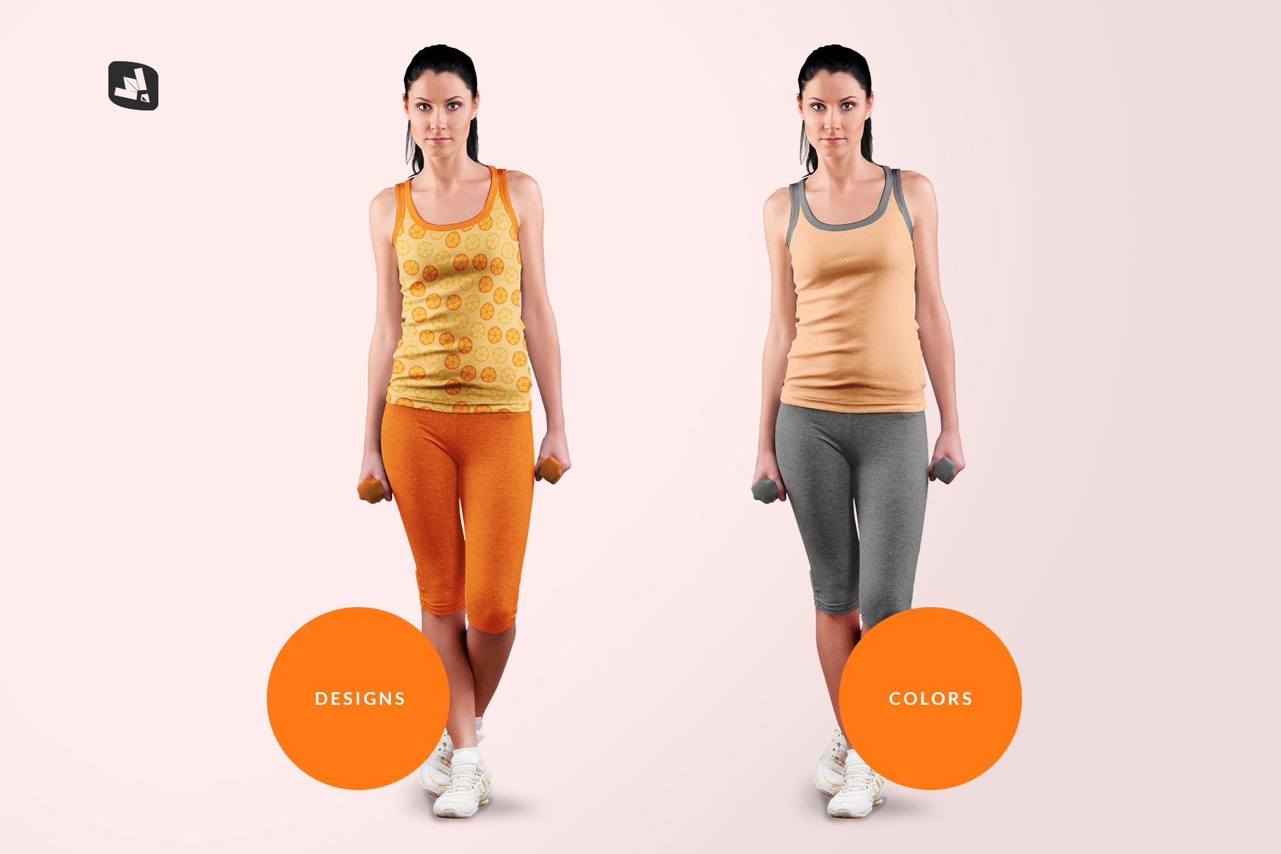 types of the female sleeveless gym outfit mockup