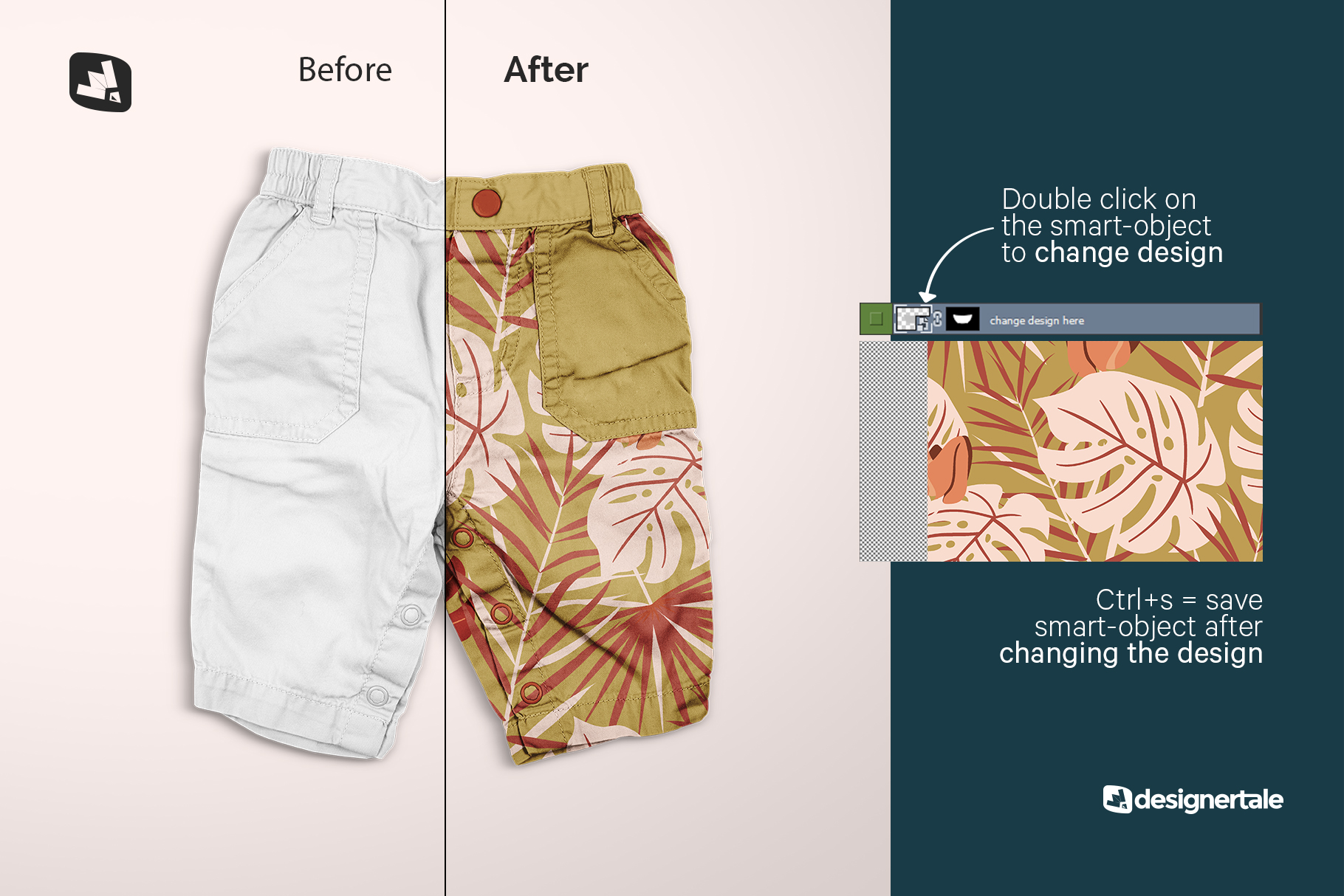 how to change design of the trendy infant cargo pants mockup