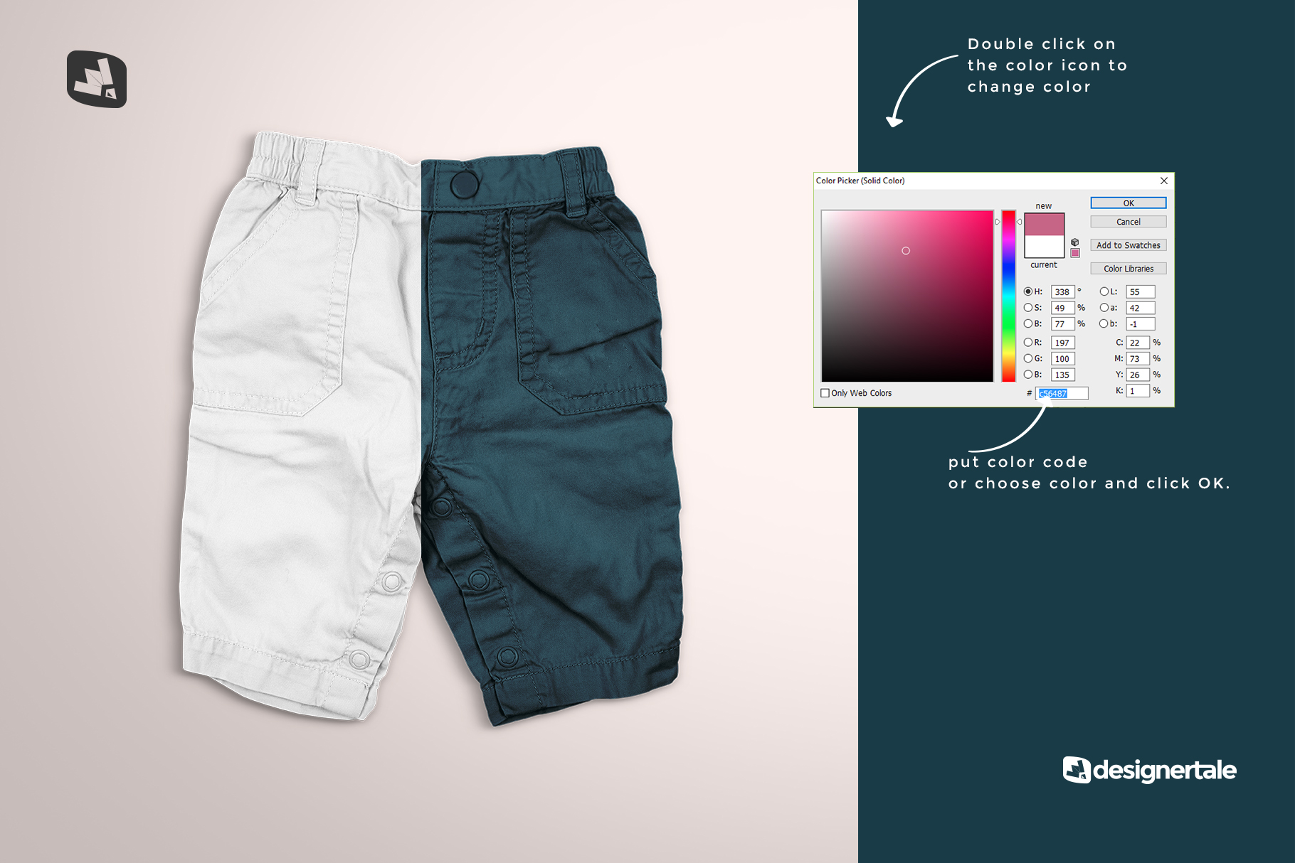 how to change color of the trendy infant cargo pants mockup
