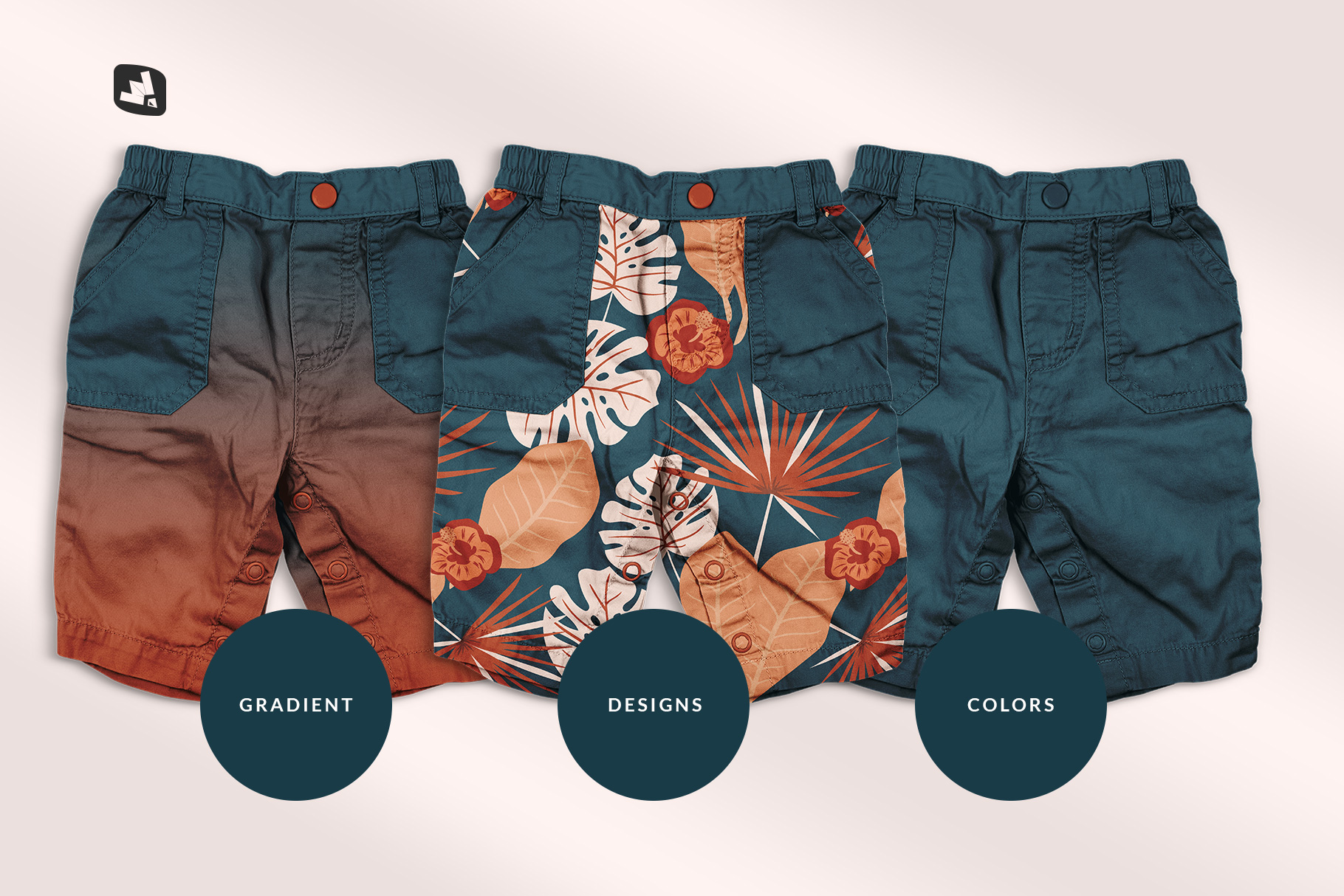 types of the trendy infant cargo pants mockup