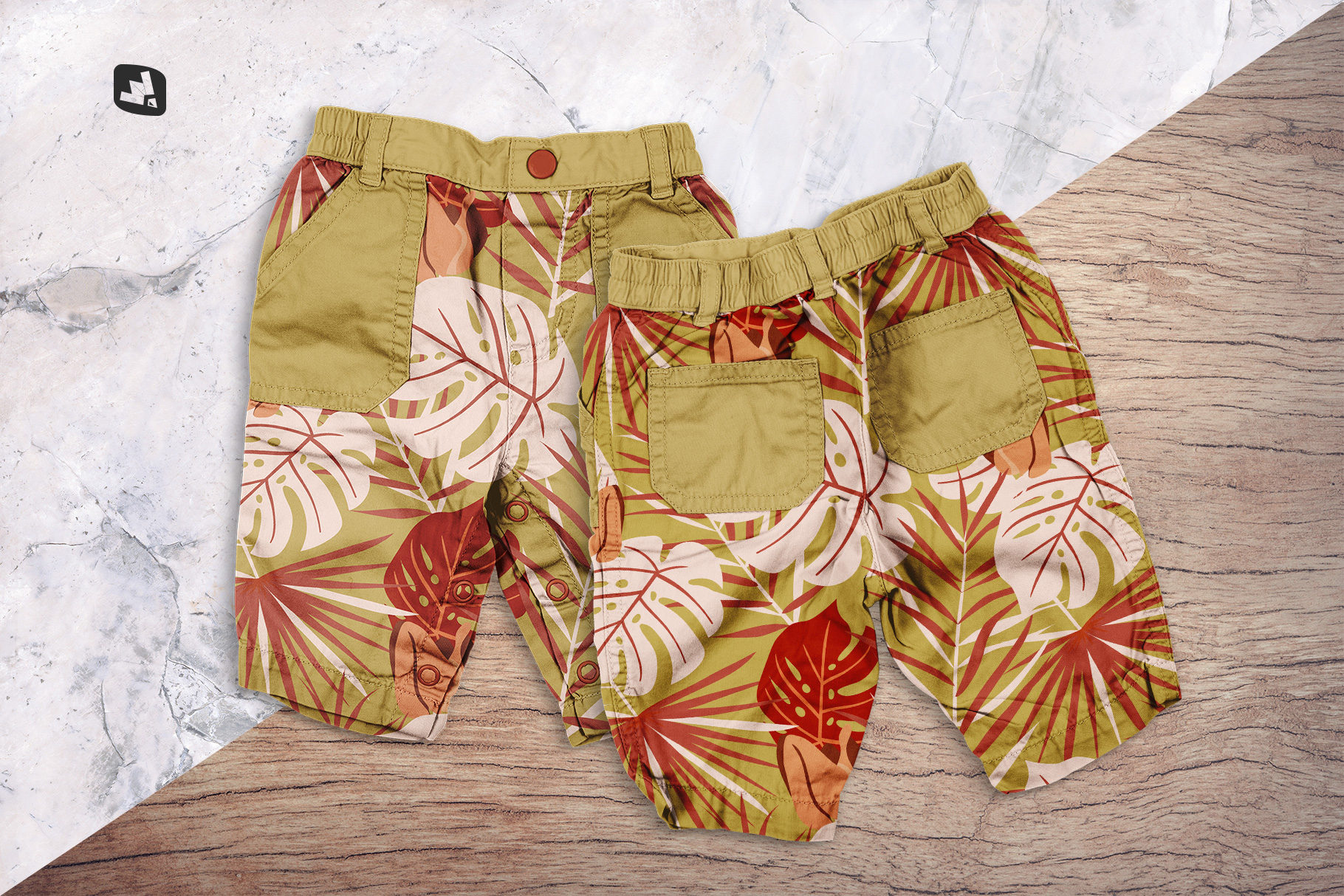 background options of the trendy infant cargo pants mockup