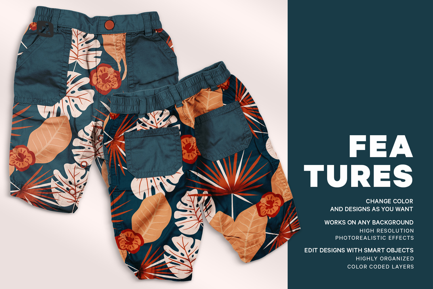 features of thetrendy infant cargo pants mockup