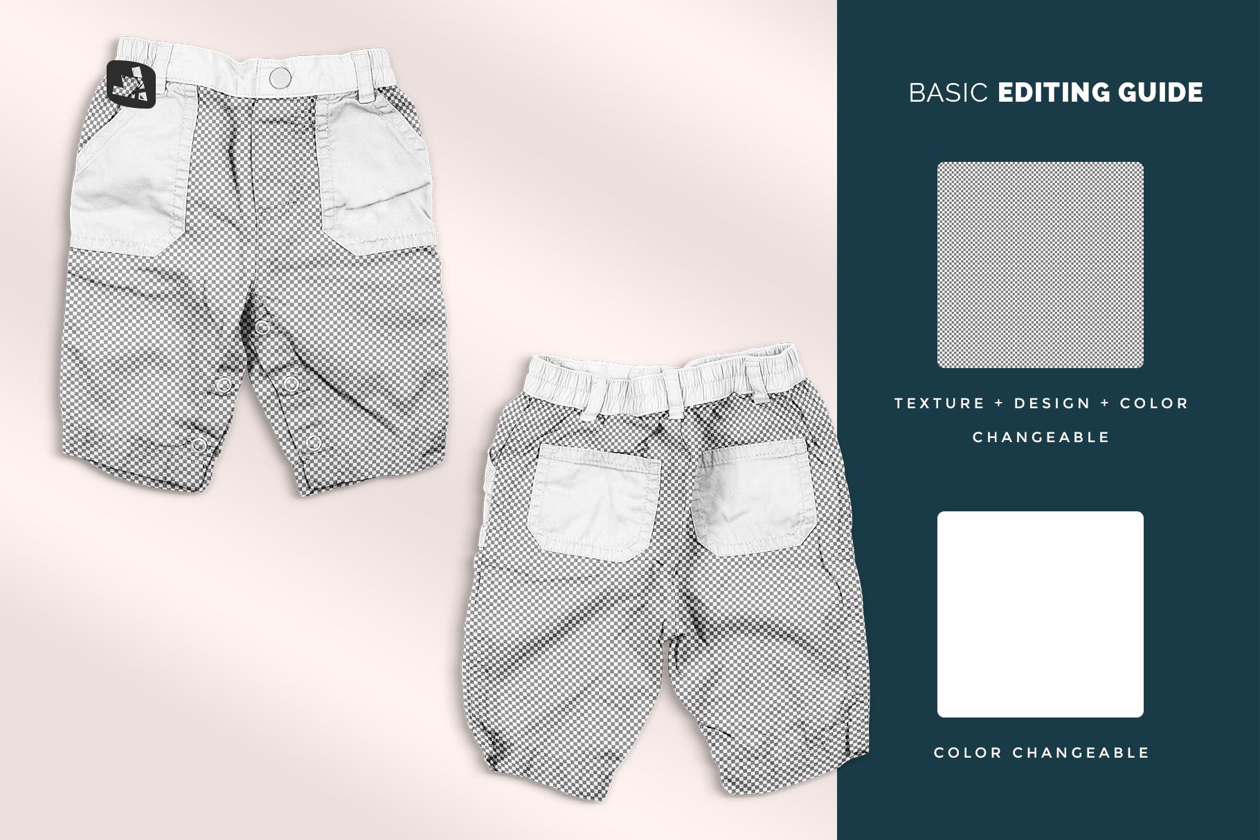 editability of the trendy infant cargo pants mockup