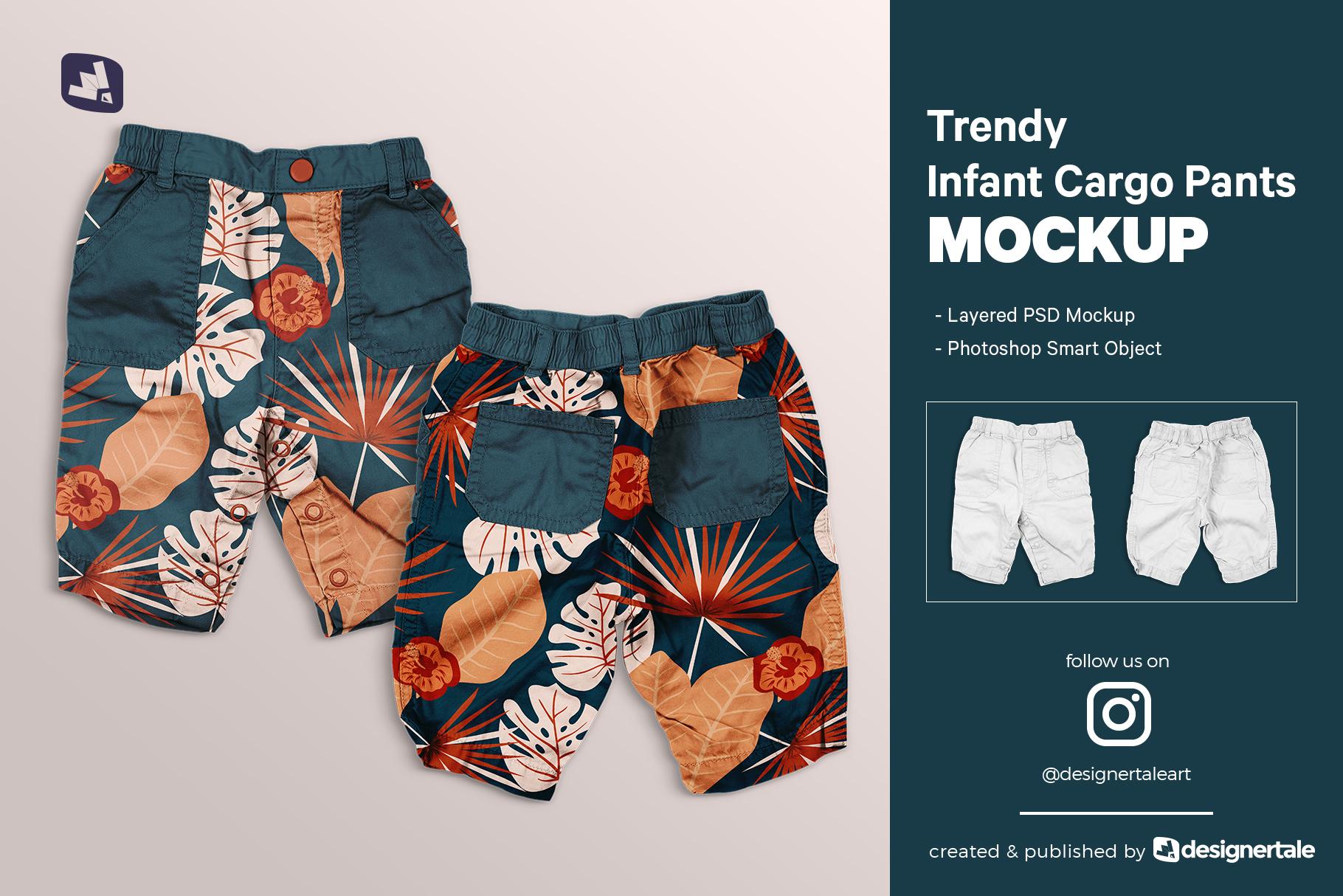 trendy infant cargo pants mockup