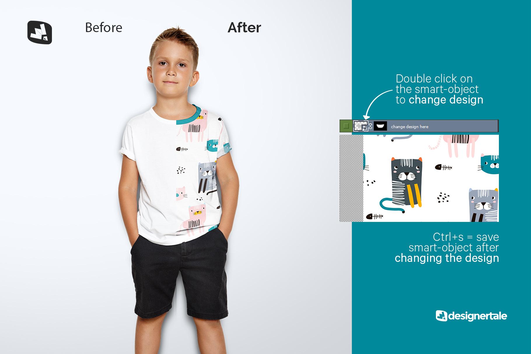 how to change design of the kid's half sleeve tshirt mockup