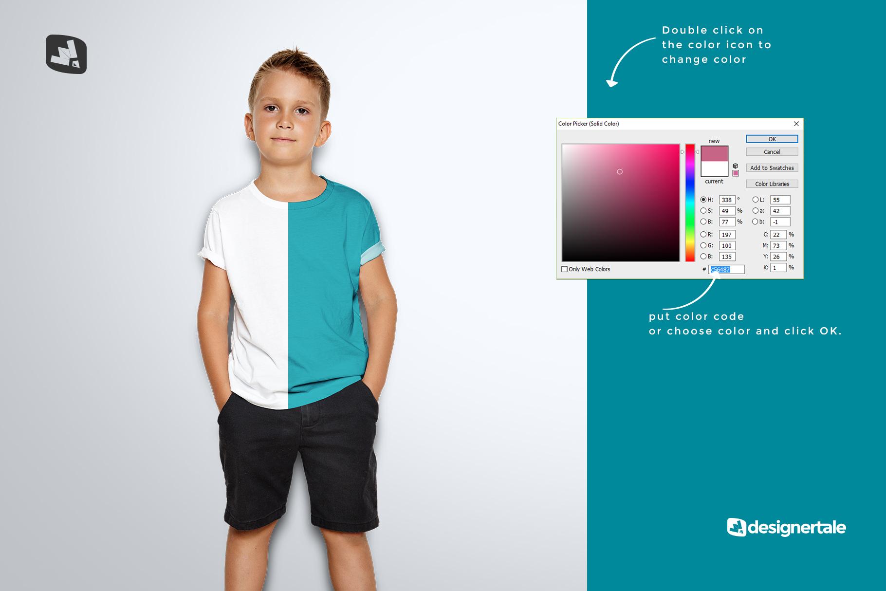 how to change color of the kid's half sleeve tshirt mockup