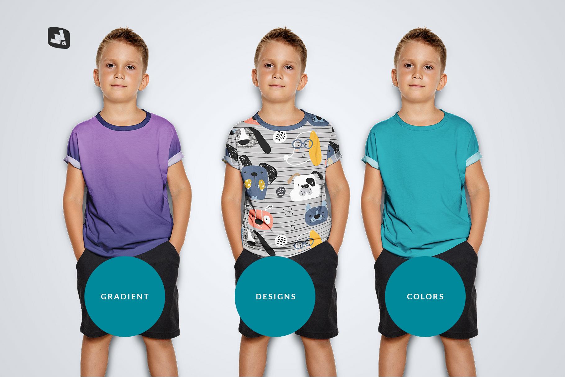 types of the kid's half sleeve tshirt mockup