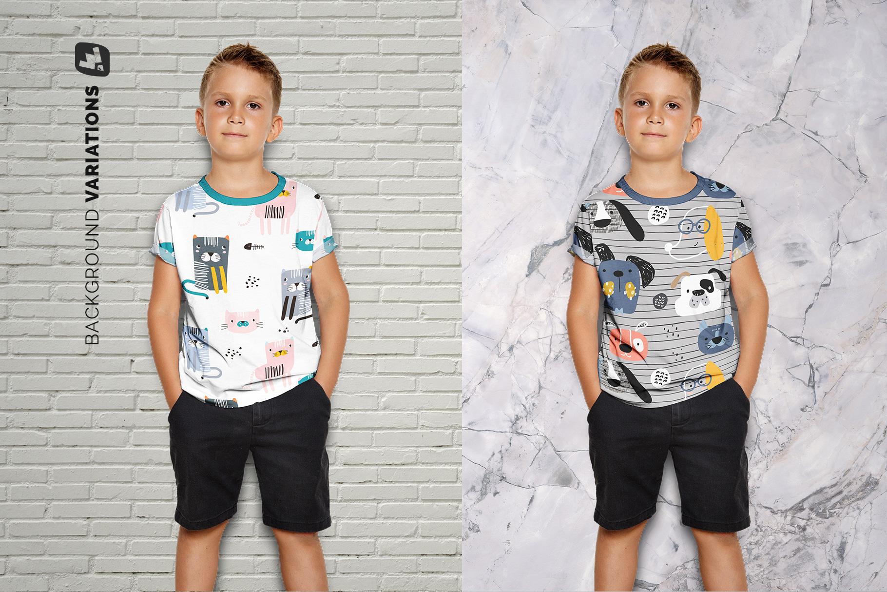 background options of the kid's half sleeve tshirt mockup