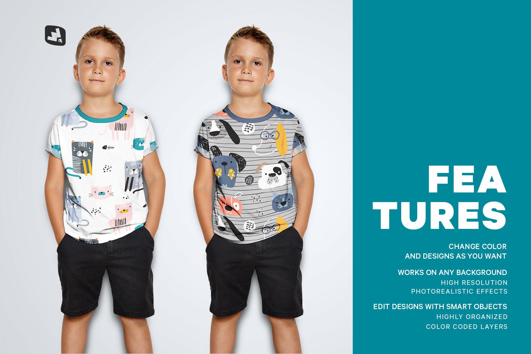 features of the kid's half sleeve tshirt mockup
