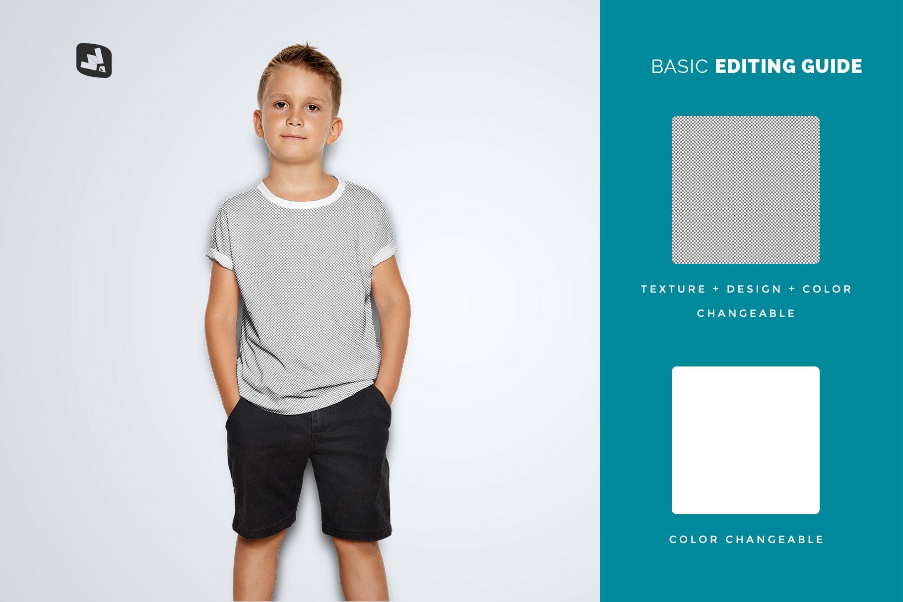editability of the kid's half sleeve tshirt mockup