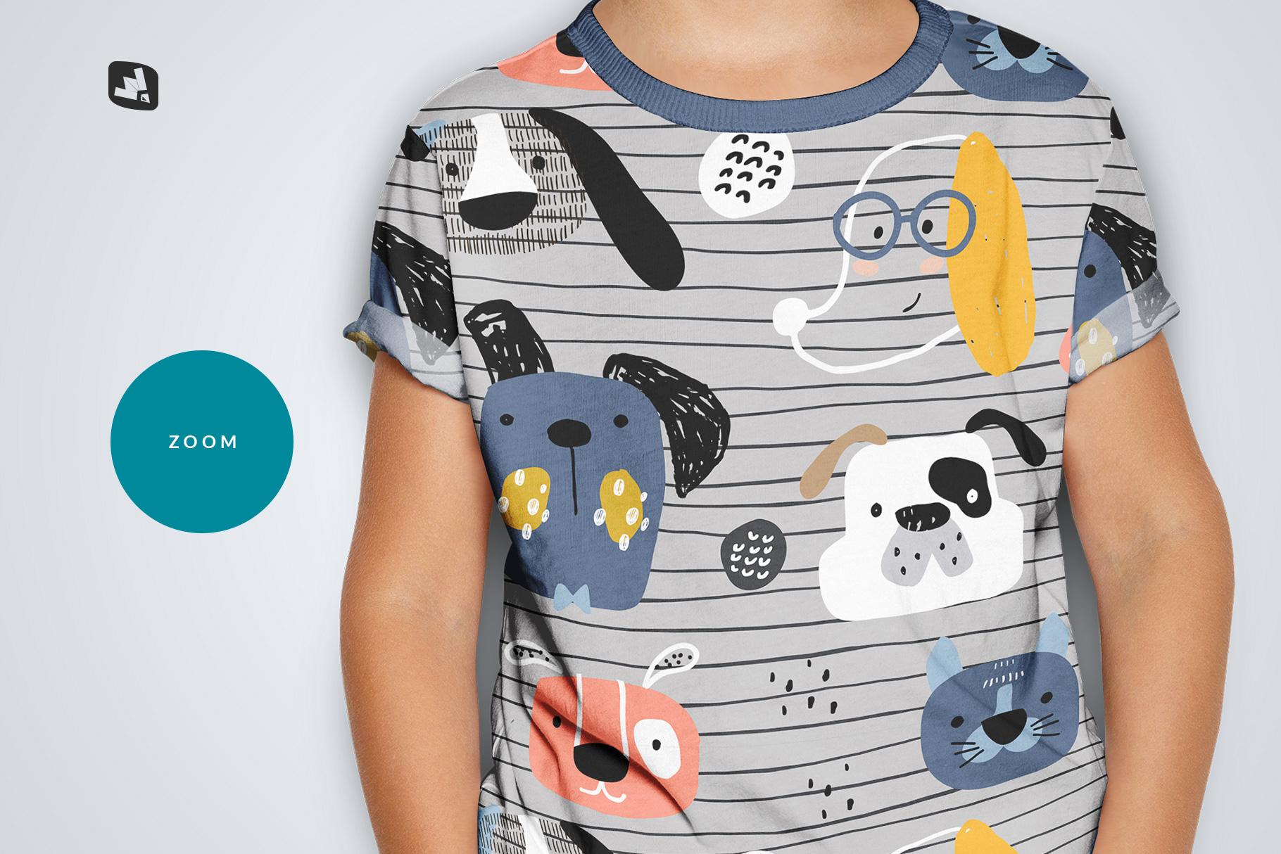 zoomed in image of the kid's half sleeve tshirt mockup