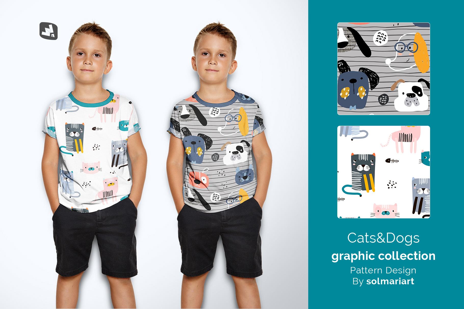 designer's credit of the kid's half sleeve tshirt mockup
