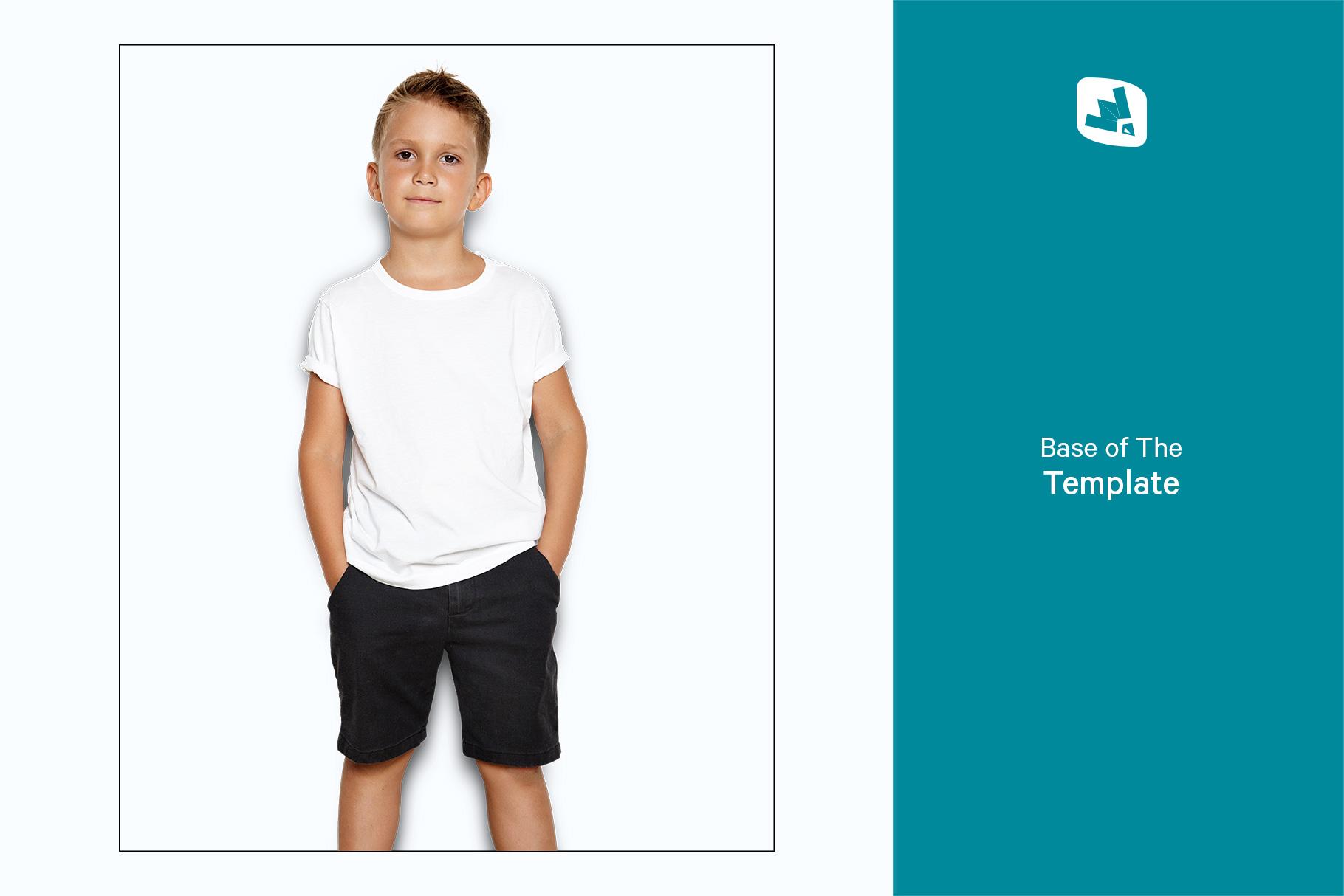 base image of the kid's half sleeve tshirt mockup