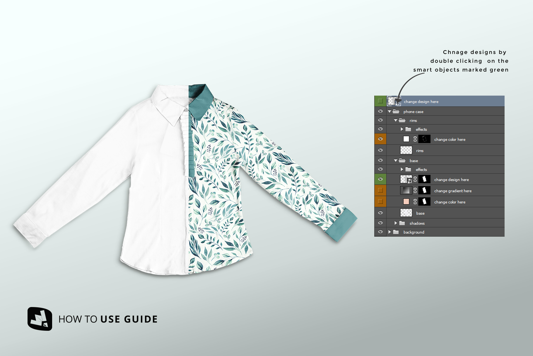 how to change design of the women's full sleeve blouse mockup