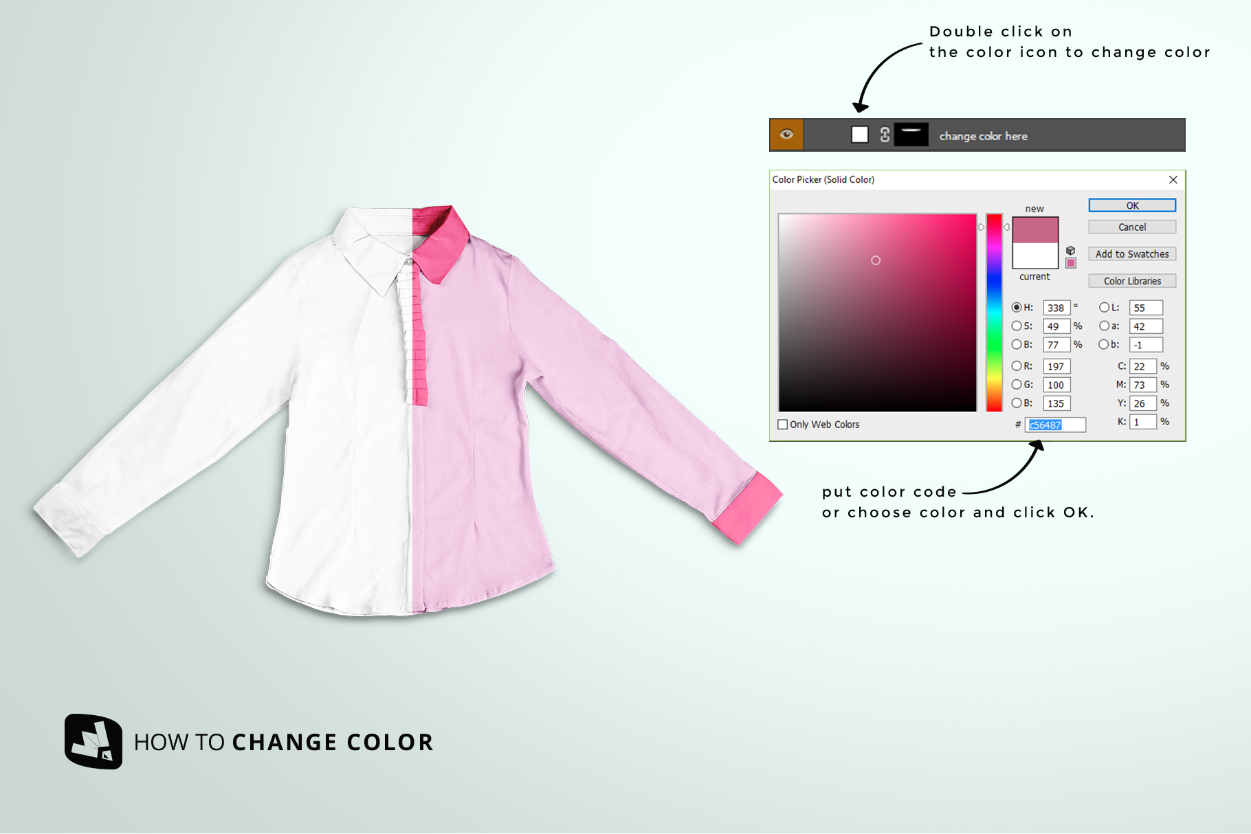 how to change color of the women's full sleeve blouse mockup